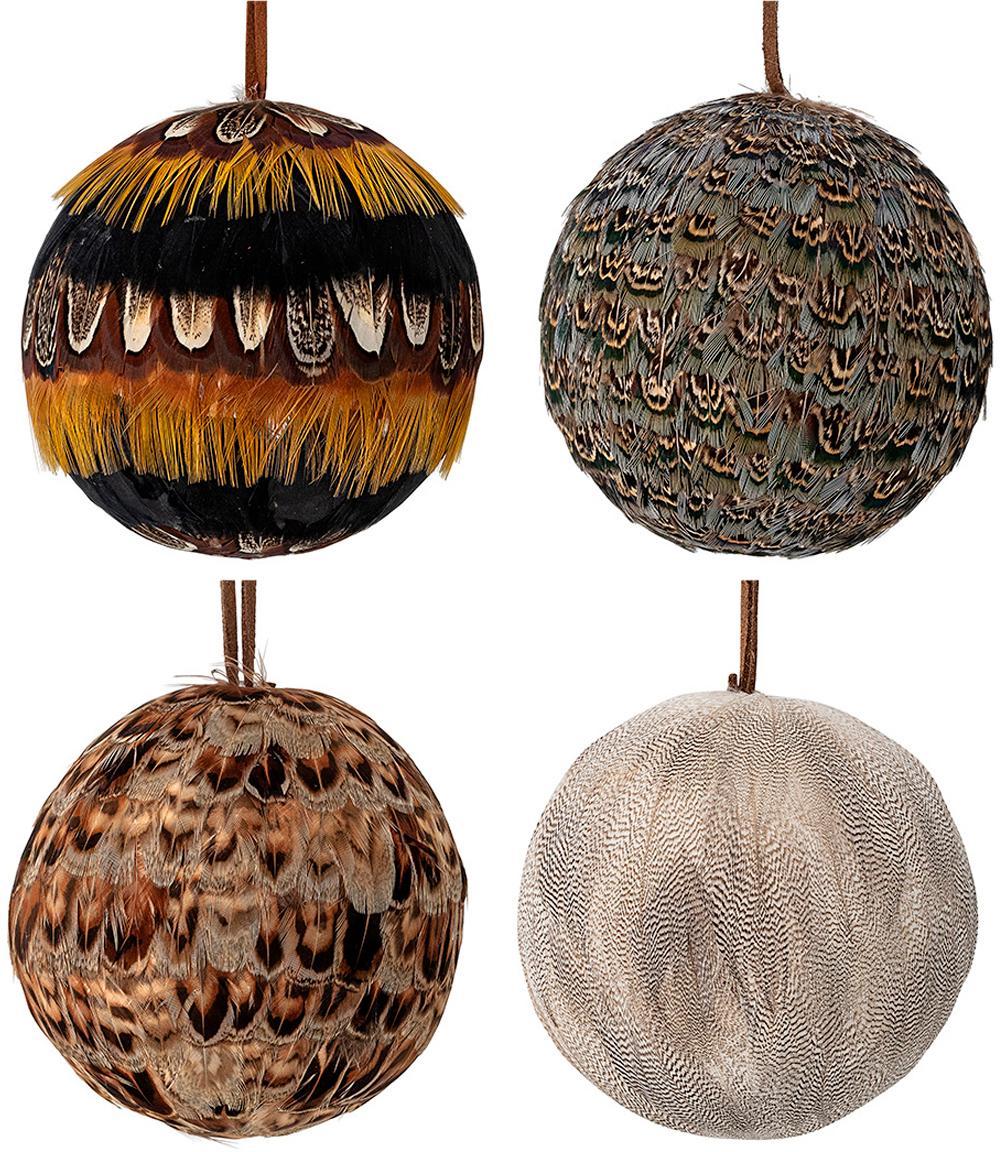 Set de bolas de Navidad Feather, Ø9cm, 4pzas., Poliestireno, plumas, Multicolor, Ø 9 cm