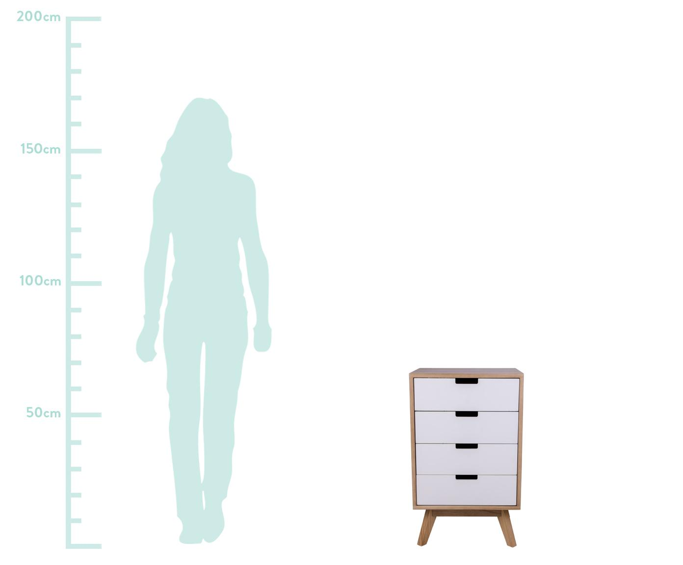 Szafka z szufladami Milano, Drewno paulownia, płyta pilśniowa średniej gęstości (MDF), Biały, drewno paulownia, S 40 x G 36 cm