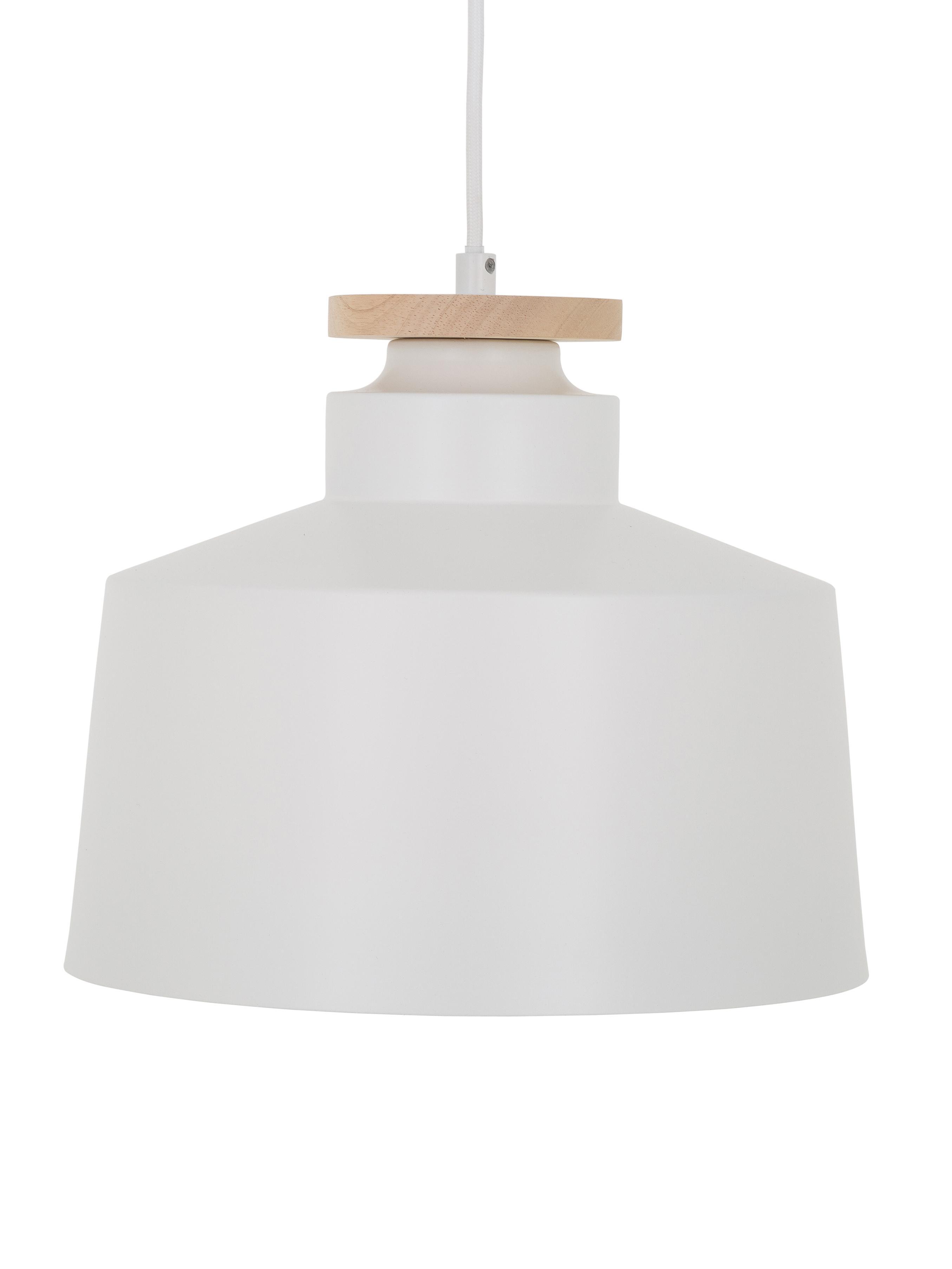 Lámpara de techo Malmö, estilo escandinavo, Pantalla: metal, madera, Anclaje: metal, Cable: tela, Blanco, Ø 30 x Al 26 cm