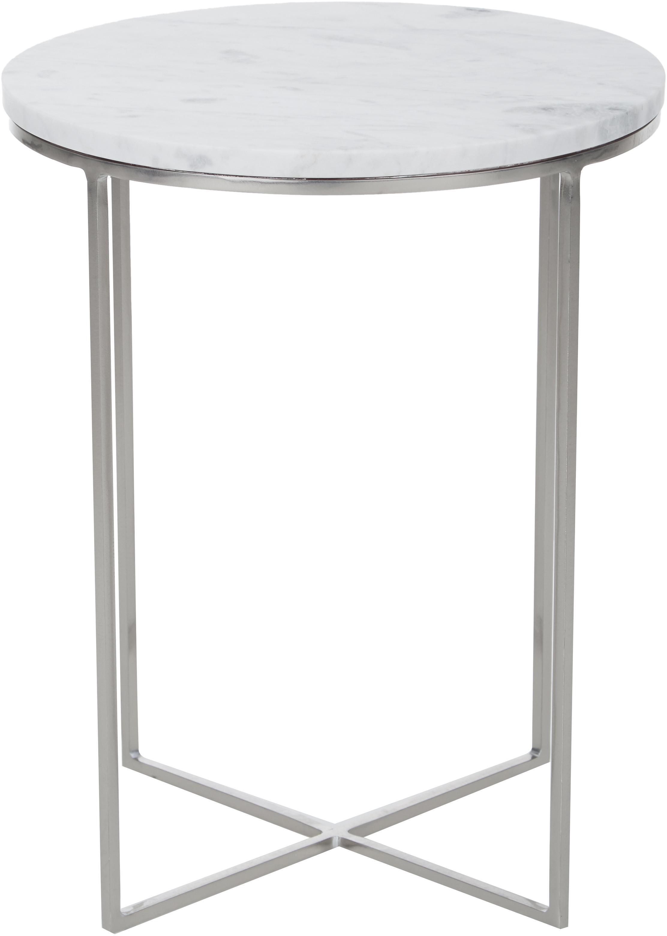 Runder Marmor-Beistelltisch Alys, Tischplatte: Marmor, Gestell: Metall, pulverbeschichtet, Tischplatte: Weiß-grauer Marmor, leicht glänzendGestell: Silberfarben, matt, Ø 40 x H 50 cm