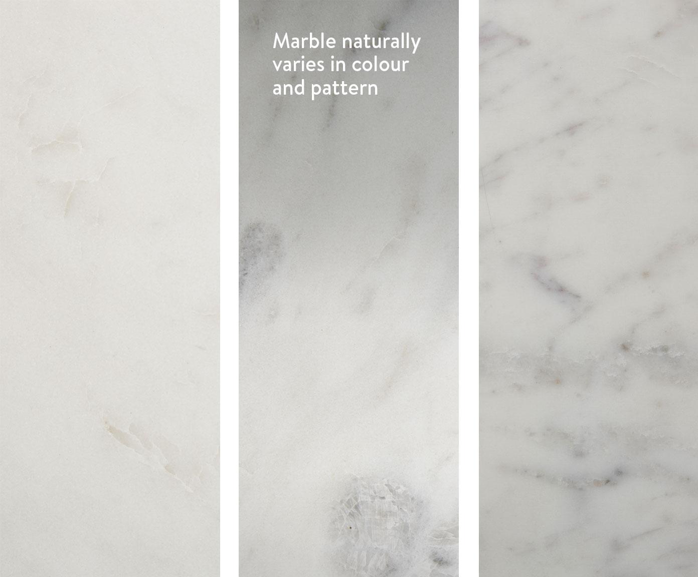 Tavolino rotondo con piano in marmo Alys, Piano d'appoggio: pietra naturale di marmo, Struttura: metallo verniciato a polv, Piano d'appoggio: marmo bianco-grigiastro leggermente lucido Struttura: argento, Ø 40 x Alt. 50 cm