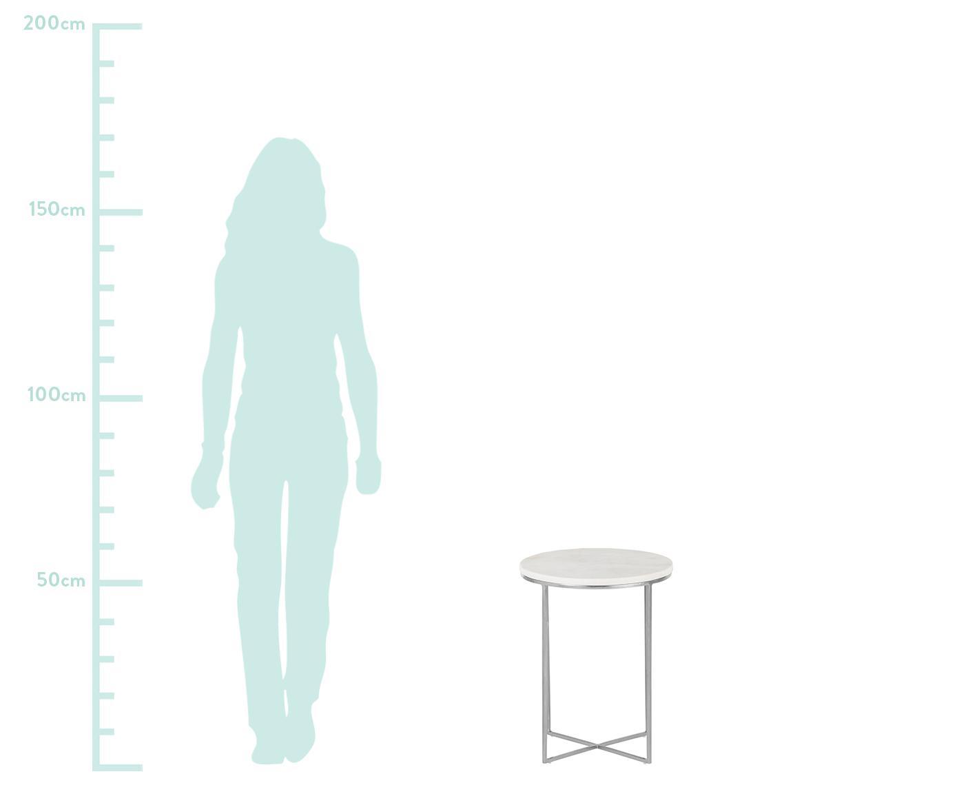 Okrągły stolik pomocniczy z marmuru Alys, Blat: marmur, Stelaż: metal malowany proszkowo, Blat: białoszary marmur, lekko błyszczący Stelaż: odcienie srebrnego, matowy, Ø 40 x W 50 cm
