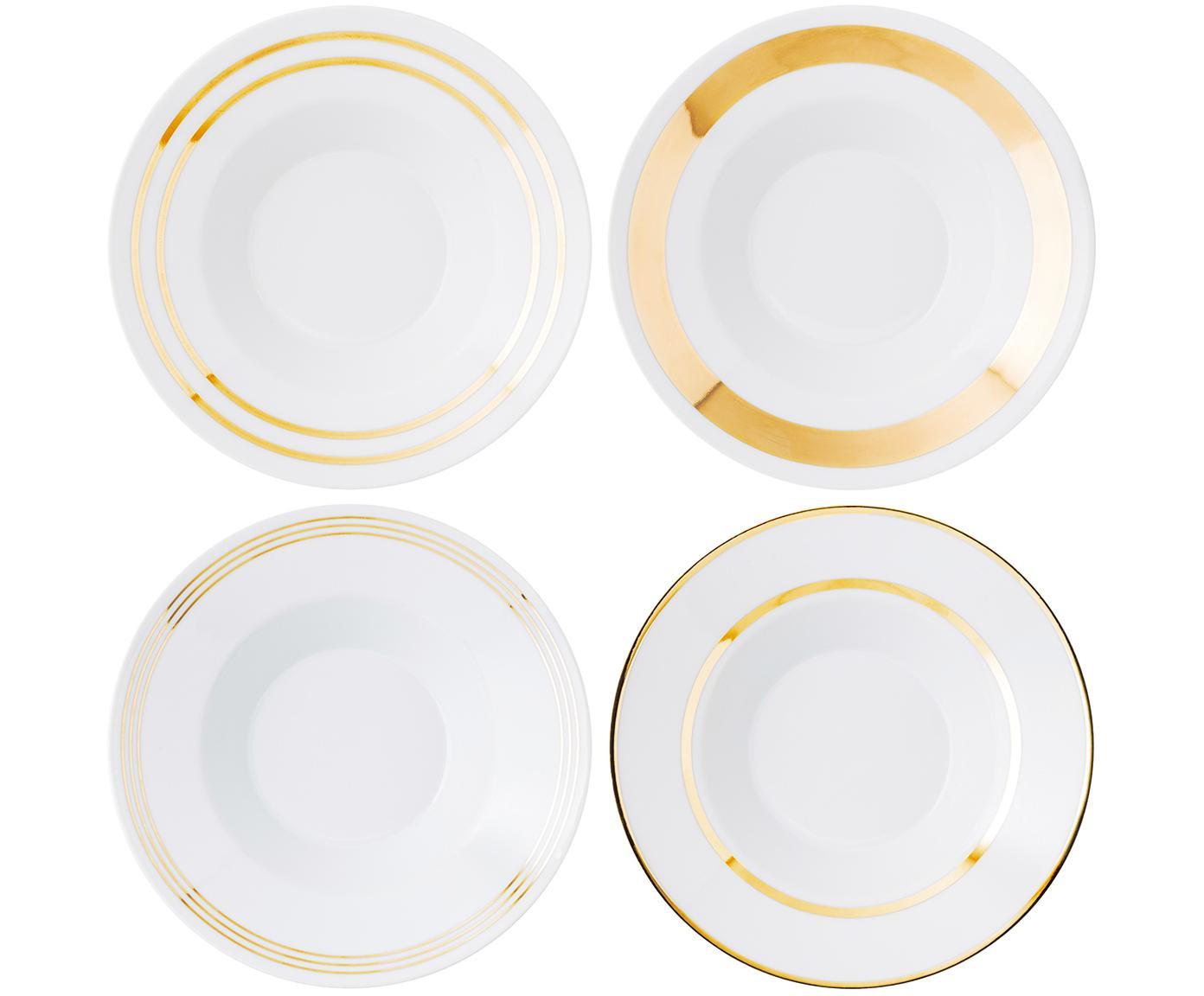 Suppenteller Deco mit goldenem Dekor, 4er-Set, Porzellan, Weiß, Goldfarben, Ø 24 x H 10 cm