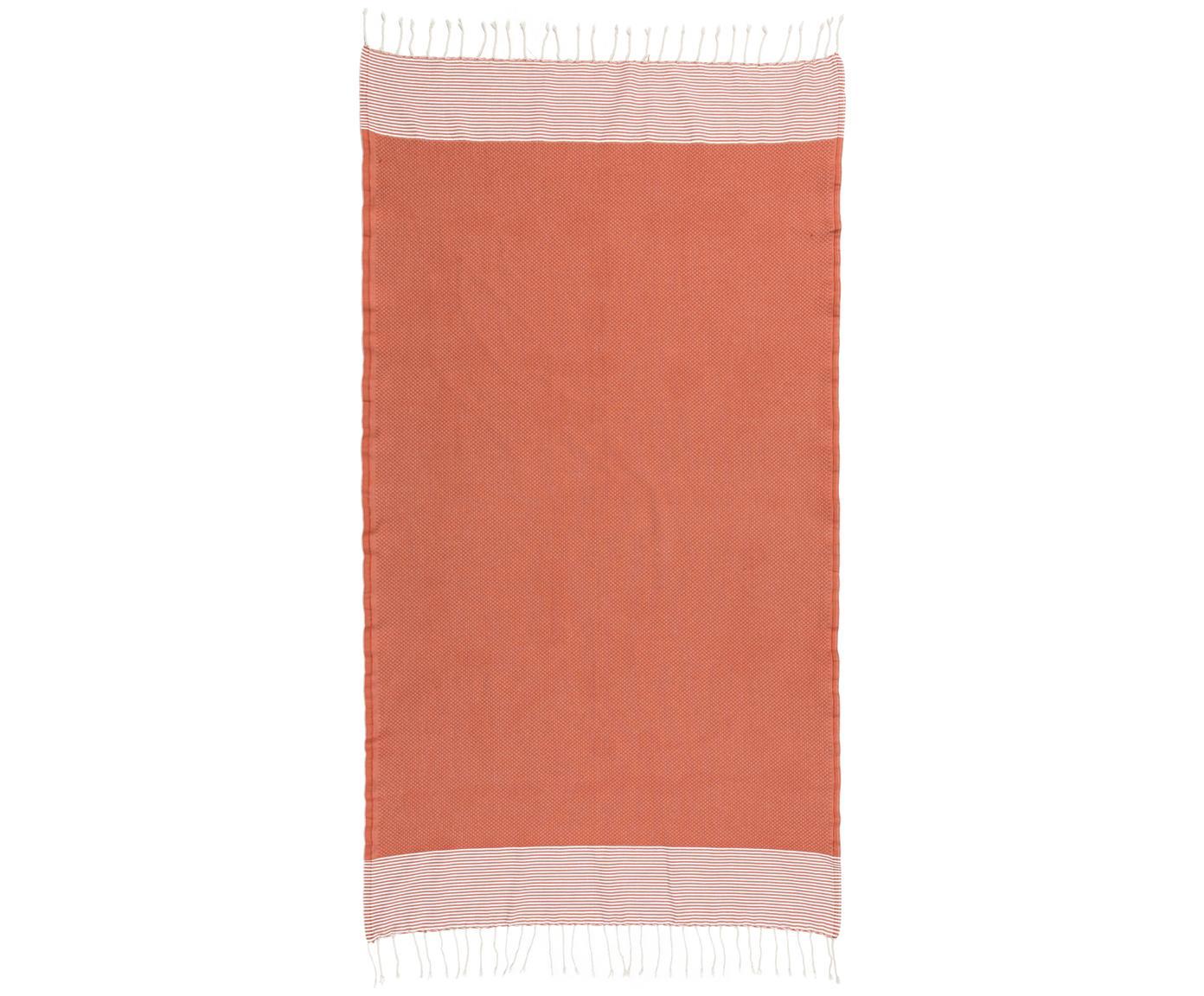 Hamamtuch Ibiza, 100% Baumwolle, sehr leichte Qualität, 200 g/m², Terrakotta, Weiß, 100 x 200 cm