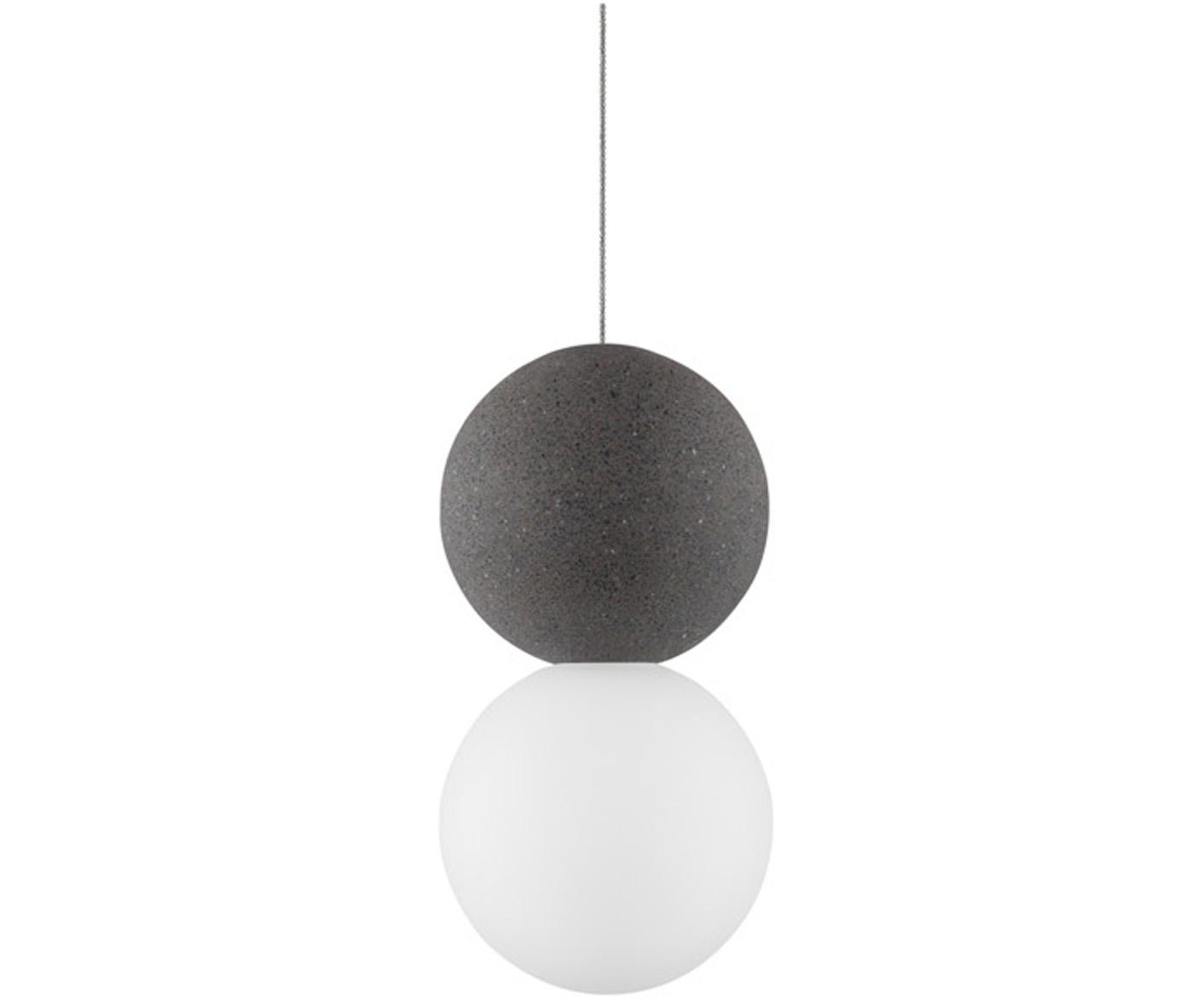 Kleine hanglamp Zero van opaalglas, Lampenkap: terrazzo, opaalglas, Baldakijn: gecoat aluminium, Wit, grijs, Ø 10 x H 120 cm