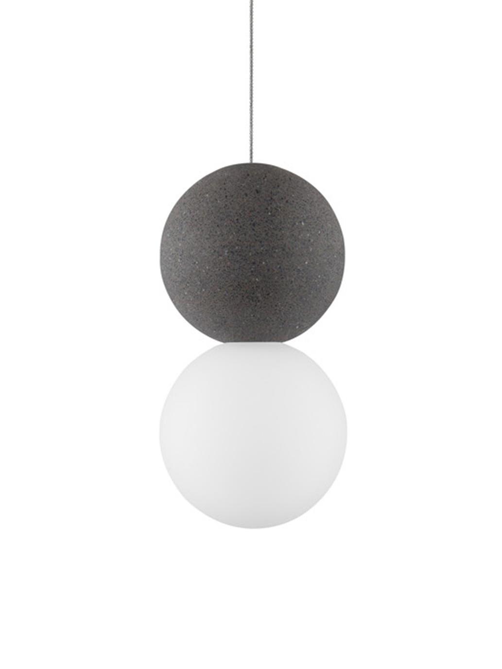 Lampada a sospensione in vetro opale Zero, Paralume: terrazzo, vetro opale, Baldacchino: alluminio rivestito, Bianco, grigio, Ø 10 x Alt. 120 cm
