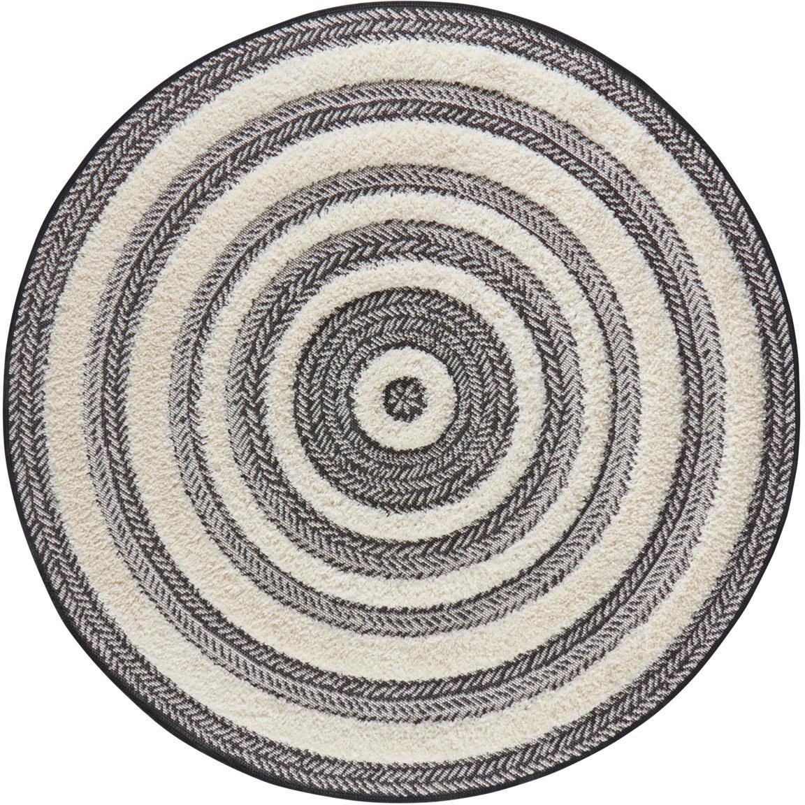 Runder In- & Outdoor-Teppich Nador mit Hoch-Tief-Effekt, 100% Polypropylen, Grau, Cremefarben, Ø 160 cm (Grösse L)