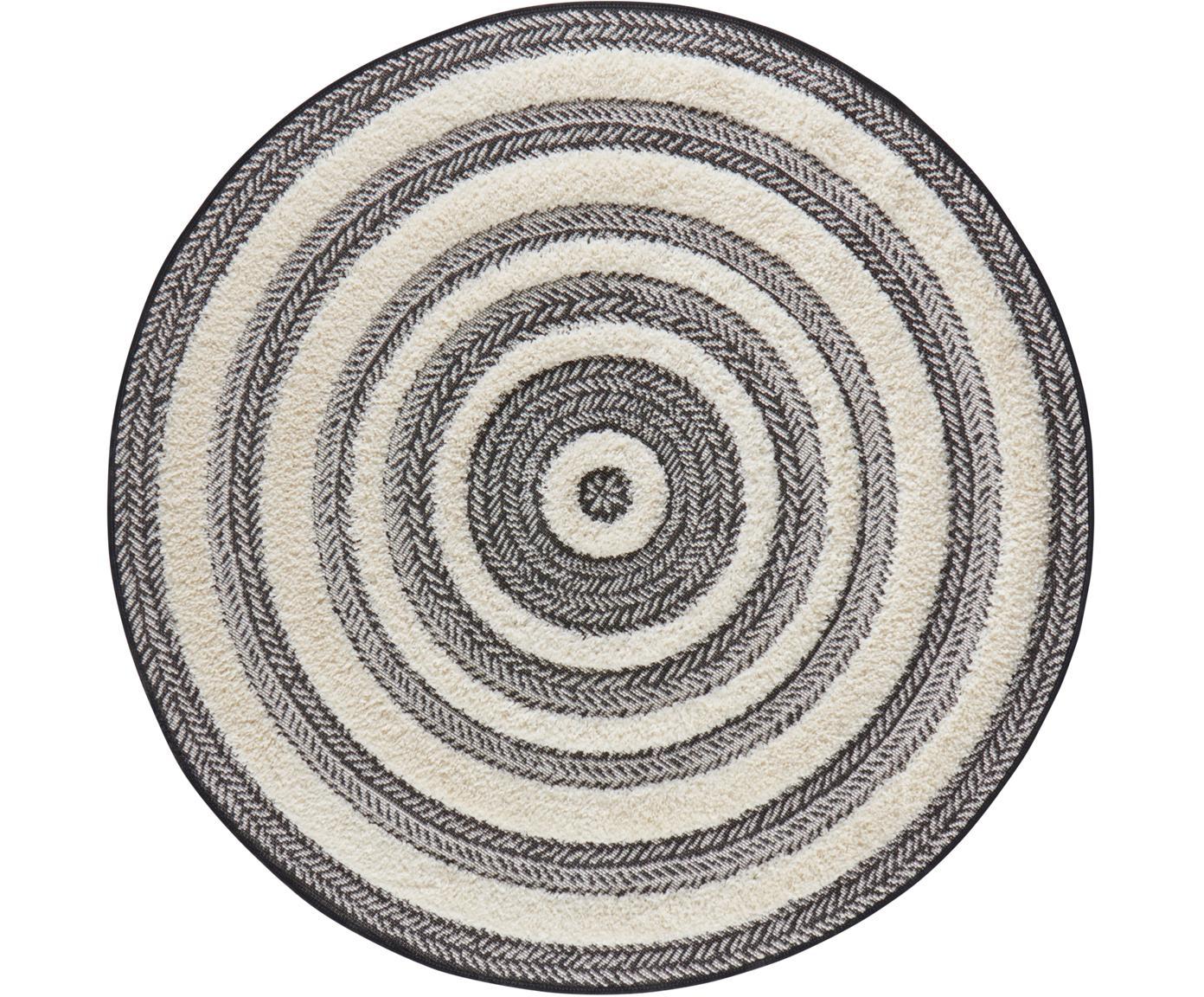 Rond vloerkleed Nador met hoog-laag patroon, Polypropyleen, Grijs, crèmekleurig, Ø 160 cm