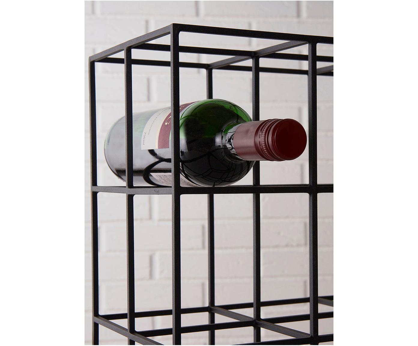 Metall-Weinregal Vinnie für 9 Flaschen, Metall, lackiert, Schwarz, matt, 37 x 37 cm