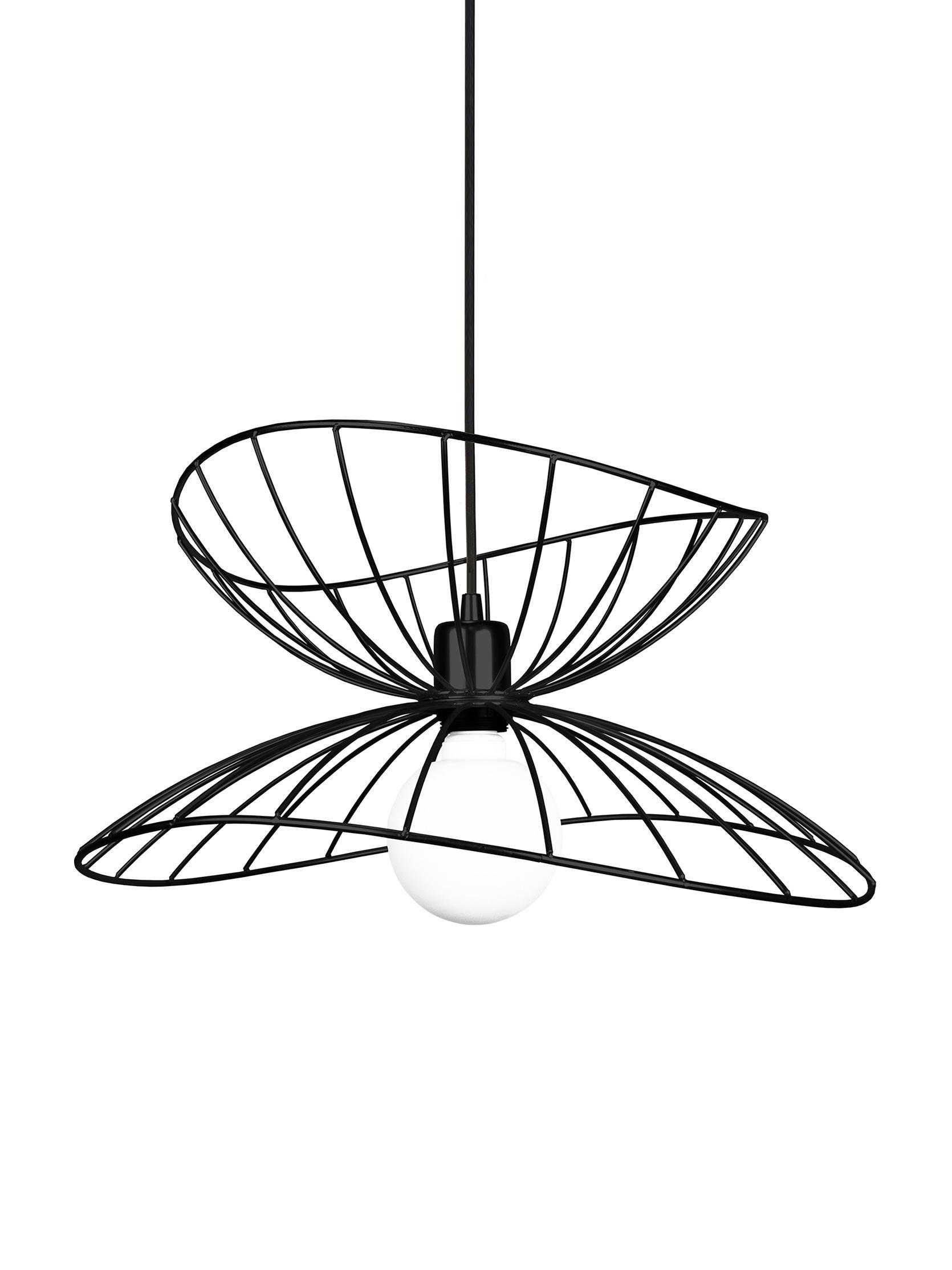 Lámpara de techo de diseño Ray, Pantalla: metal recubierto, Cable: cubierto en tela, Negro, Ø 45 x Al 25 cm