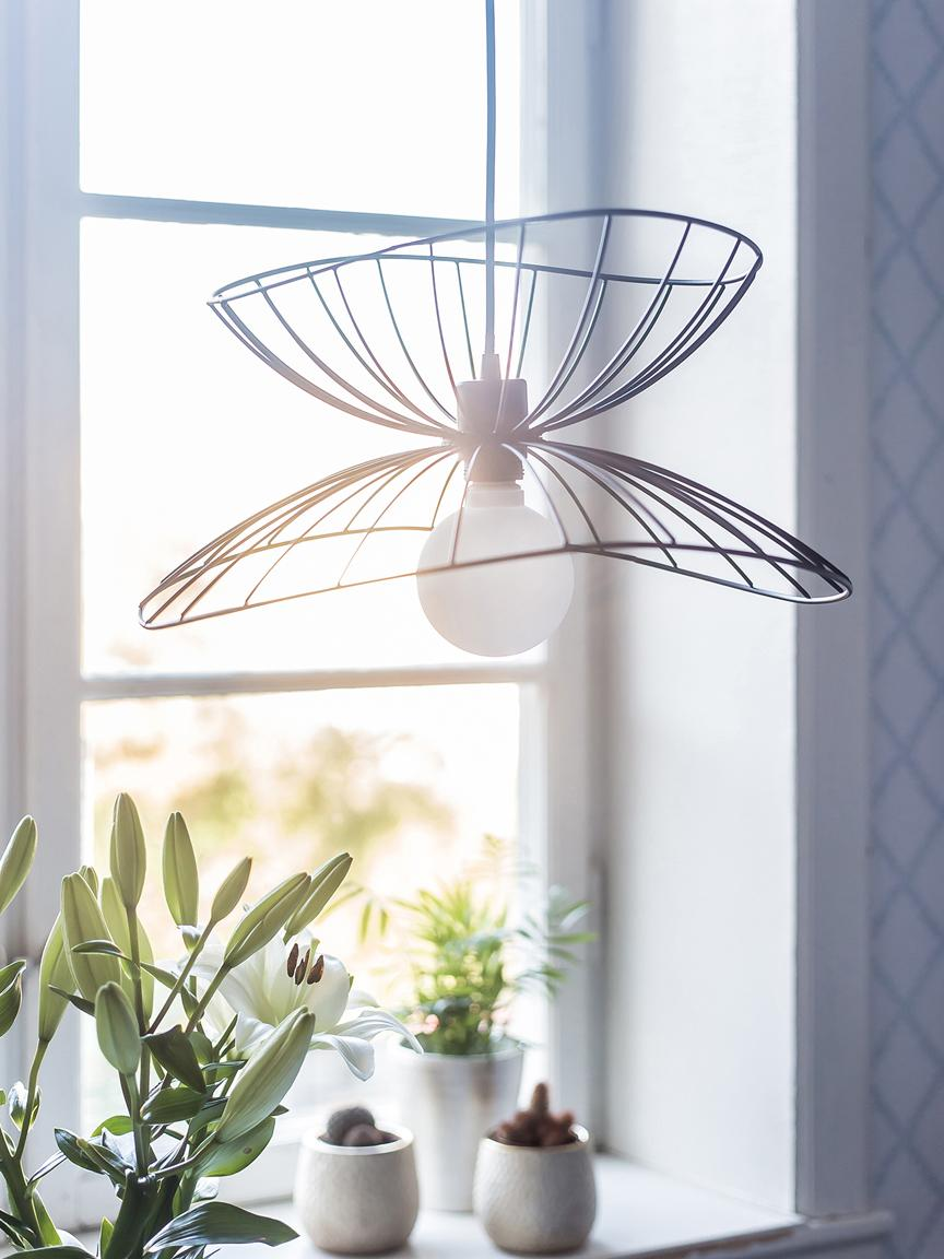 Design Pendelleuchte Ray, Lampenschirm: Metall, beschichtet, Schwarz, Ø 45 x H 25 cm