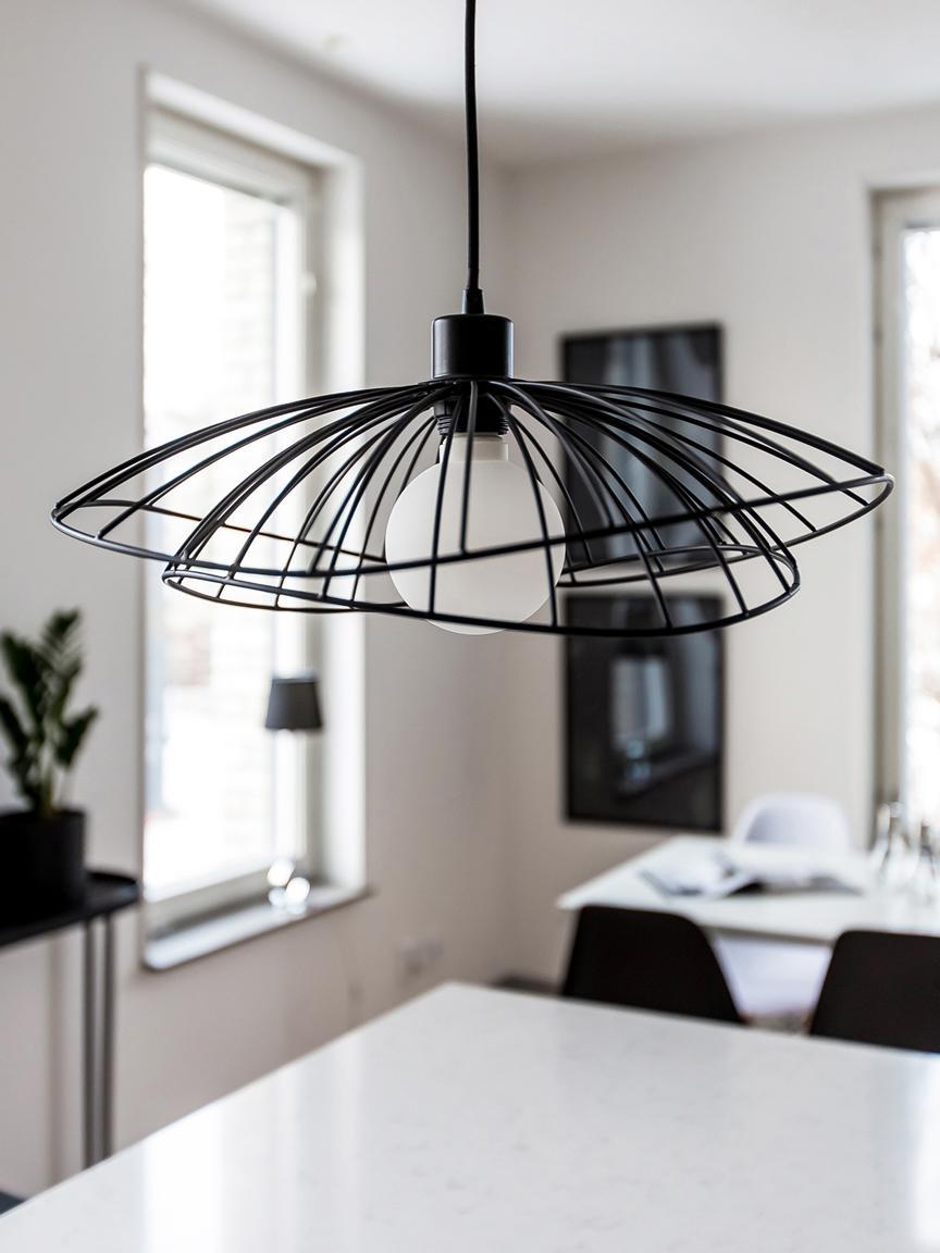 Design hanglamp Ray, Gecoat metaal, Zwart, Ø 45 x H 25 cm