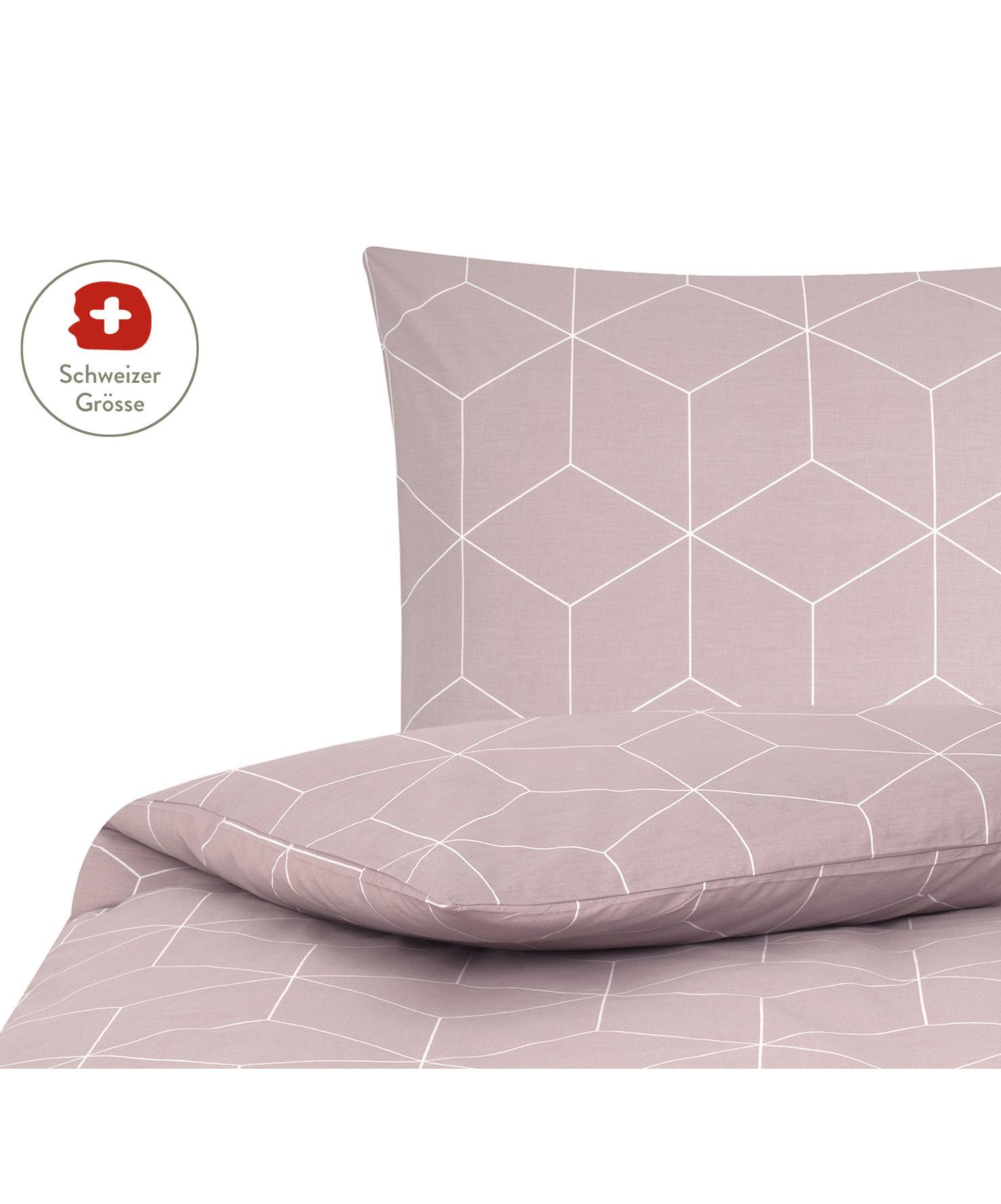 Baumwoll-Bettdeckenbezug Lynn mit grafischem Muster, Webart: Renforcé Fadendichte 144 , Altrosa, Cremeweiss, 160 x 210 cm