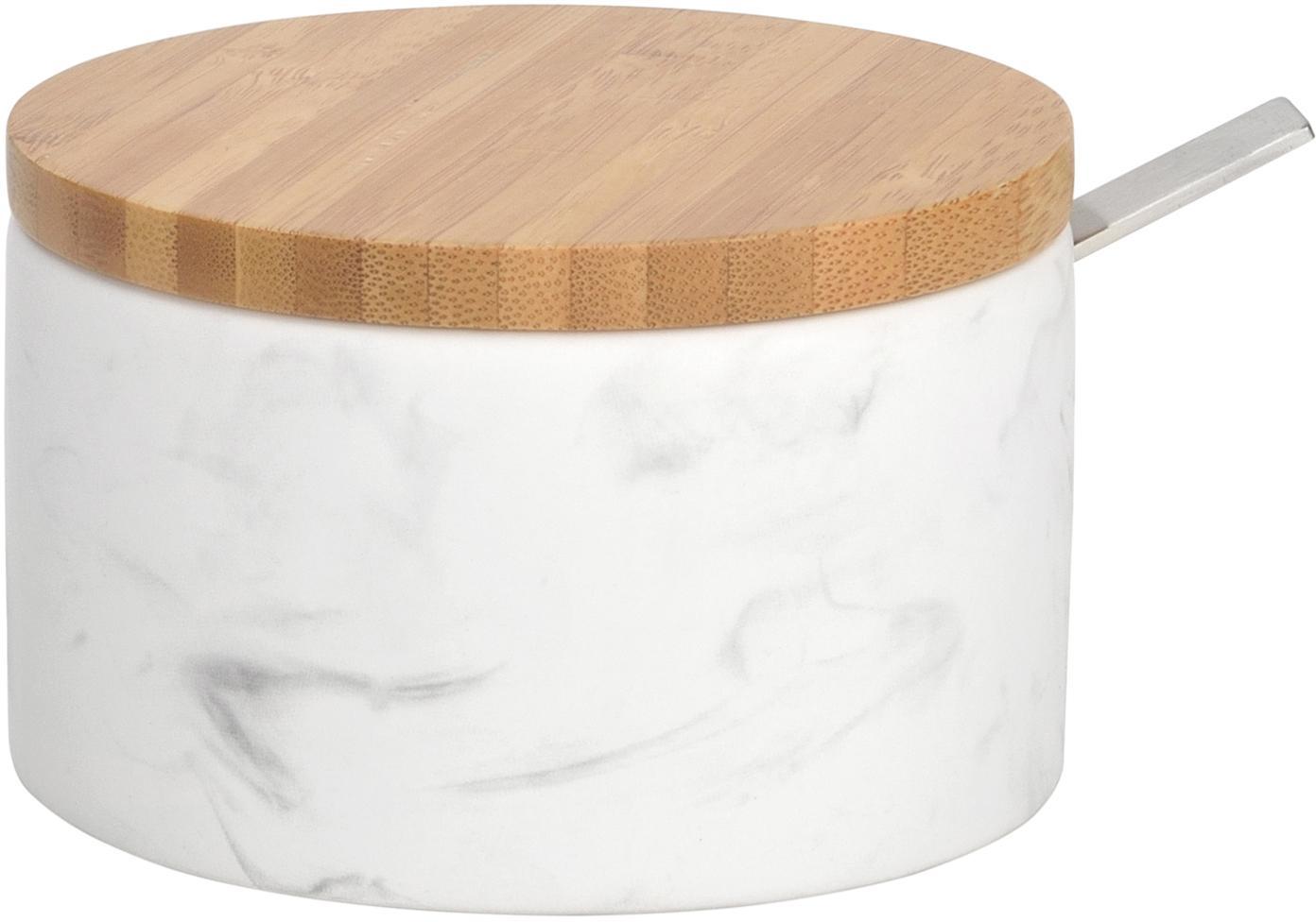 Zuccheriera con cucchiaio Kalina, Ceramica, bambù, Bianco, marmorizzato, bambù, Ø 13 x Alt. 7 cm