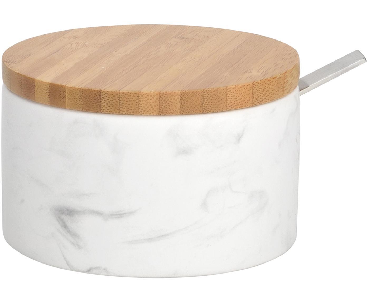 Cukiernica z łyżką Kalina, łyżka: metal, Biały, marmurowy, drewno bambusowe, Ø 13 x W 7 cm