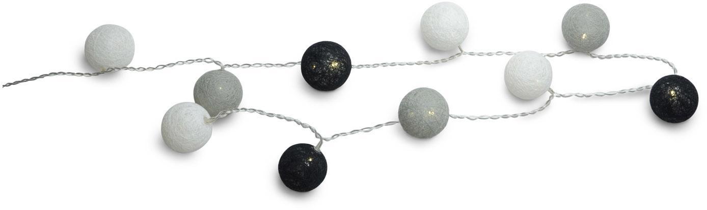 Lichterkette Ball, 150 cm, Kunststoff, Textil, Grau, Schwarz, Weiß, 150 cm
