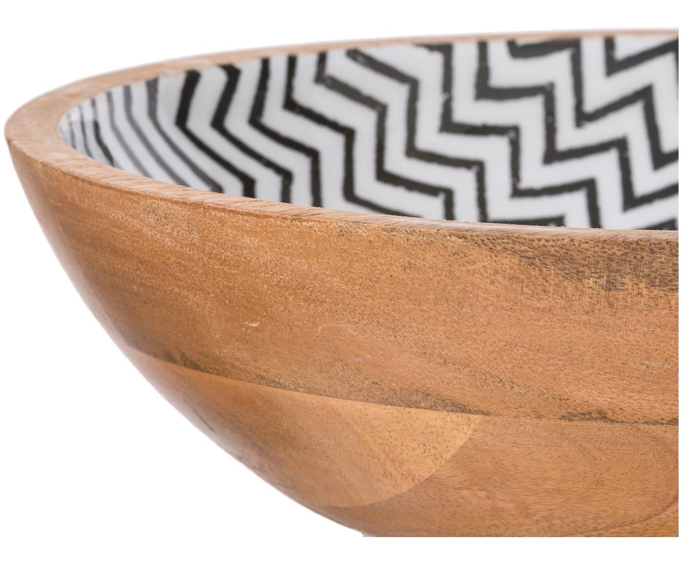 Misa Una, Drewno mangowe, Drewno mangowe, czarny, biały, Ø 34 x W 8 cm