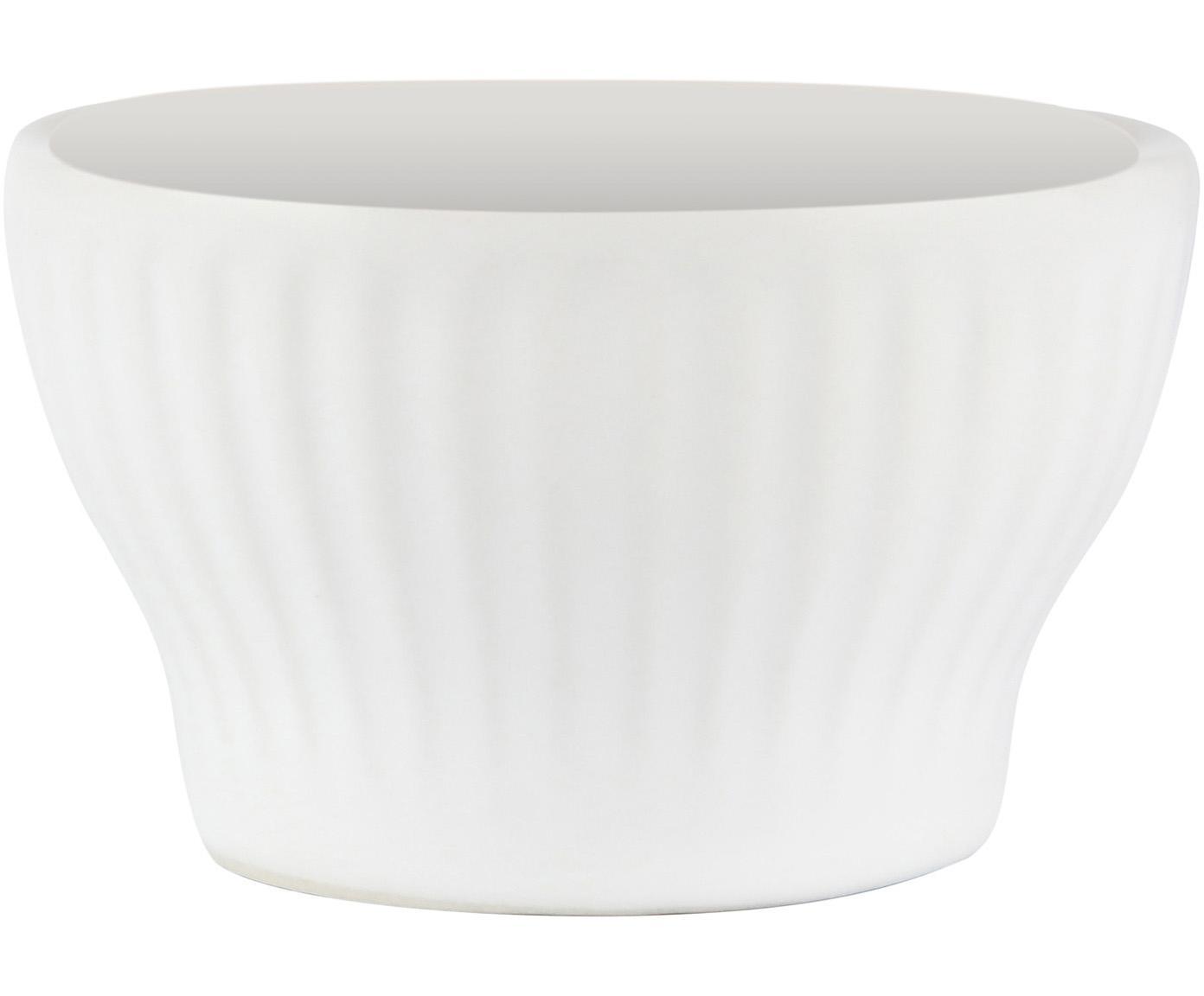 Weiße Eierbecher Groove mit Rillenstruktur, 4 Stück, Steingut, Weiß, Ø 8 x H 5 cm