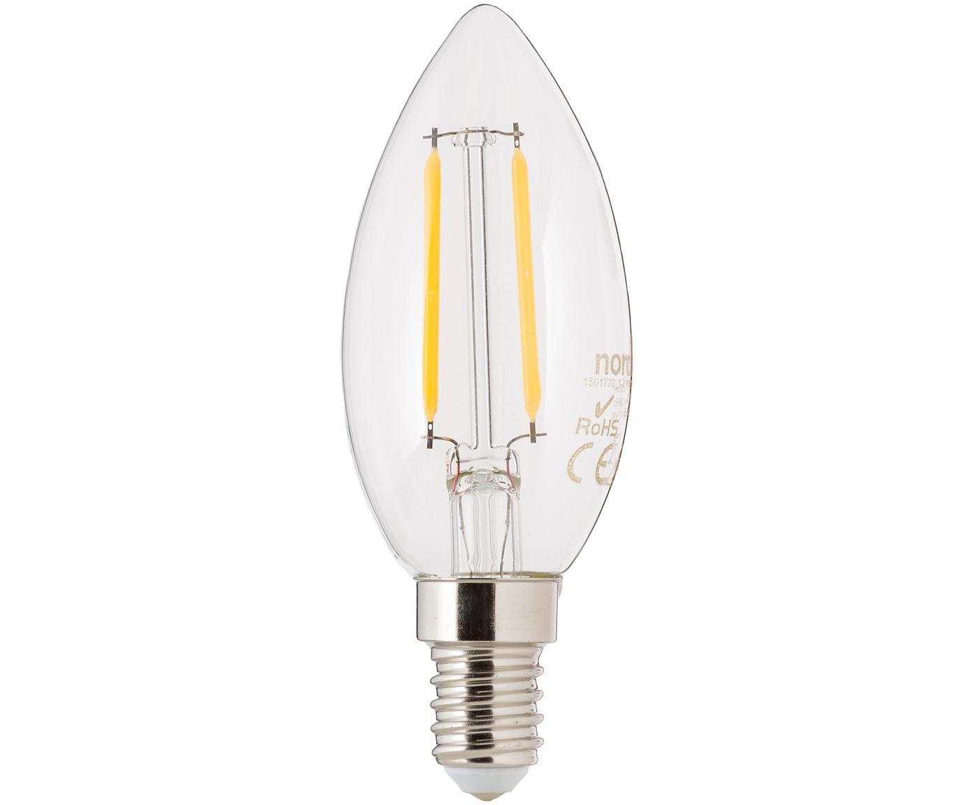 LED Leuchtmittel Vel (E14/2W), Leuchtmittelschirm: Glas, Leuchtmittelfassung: Aluminium, Transparent, Ø 4 x H 10 cm