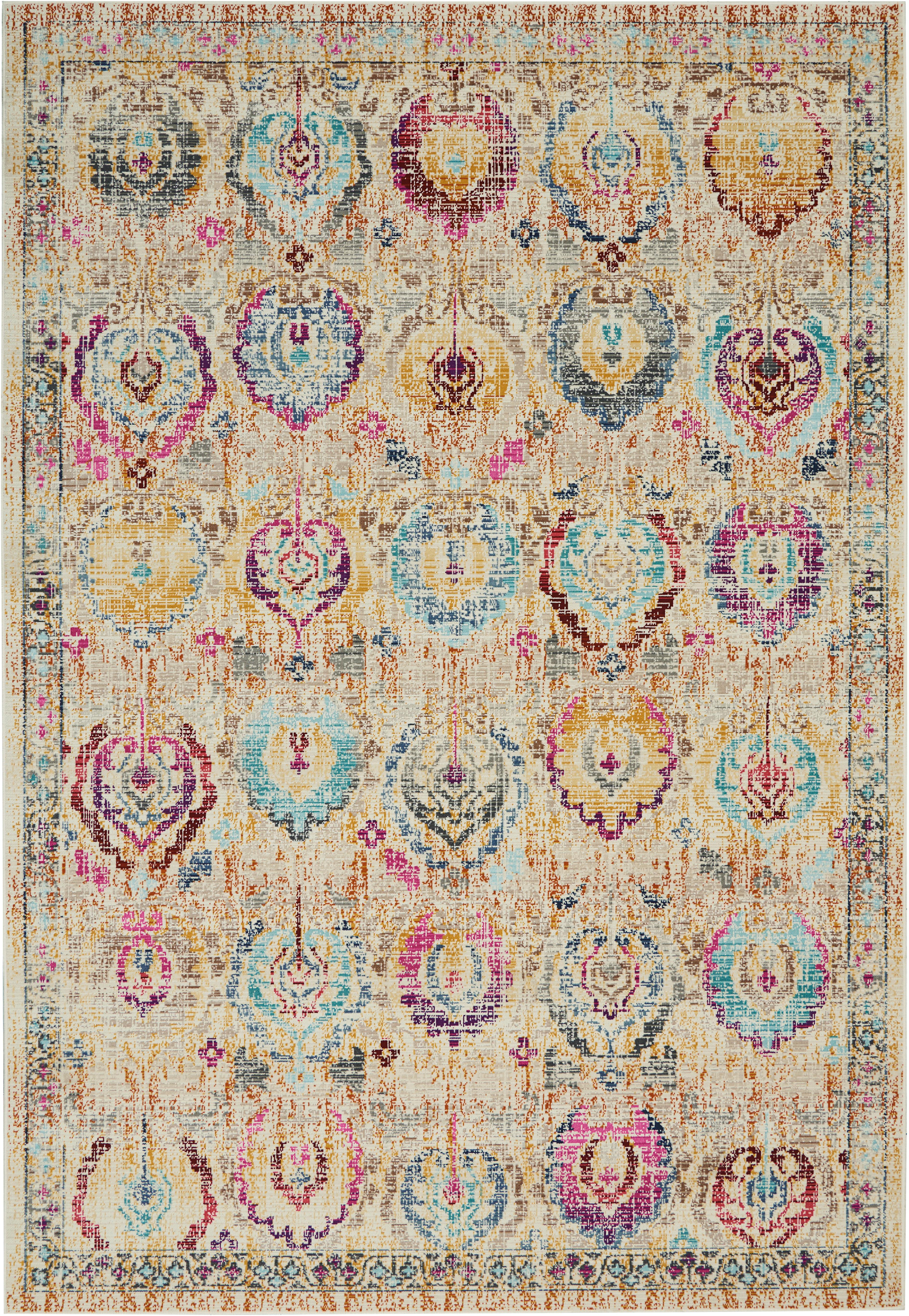 Laagpolig vloerkleed Kashan Vintage met gekleurde ornamenten, Bovenzijde: 100% polypropyleen, Onderzijde: latex, Beige, multicolour, B 160 x L 240 cm (maat M)
