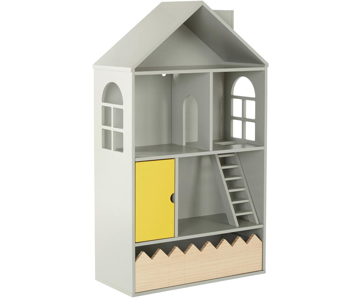 Casita de juguete Mi Casa Su Casa, Madera de pino, tablero de fibras de densidad media (MDF), Gris, amarillo, An 61 x Al 106