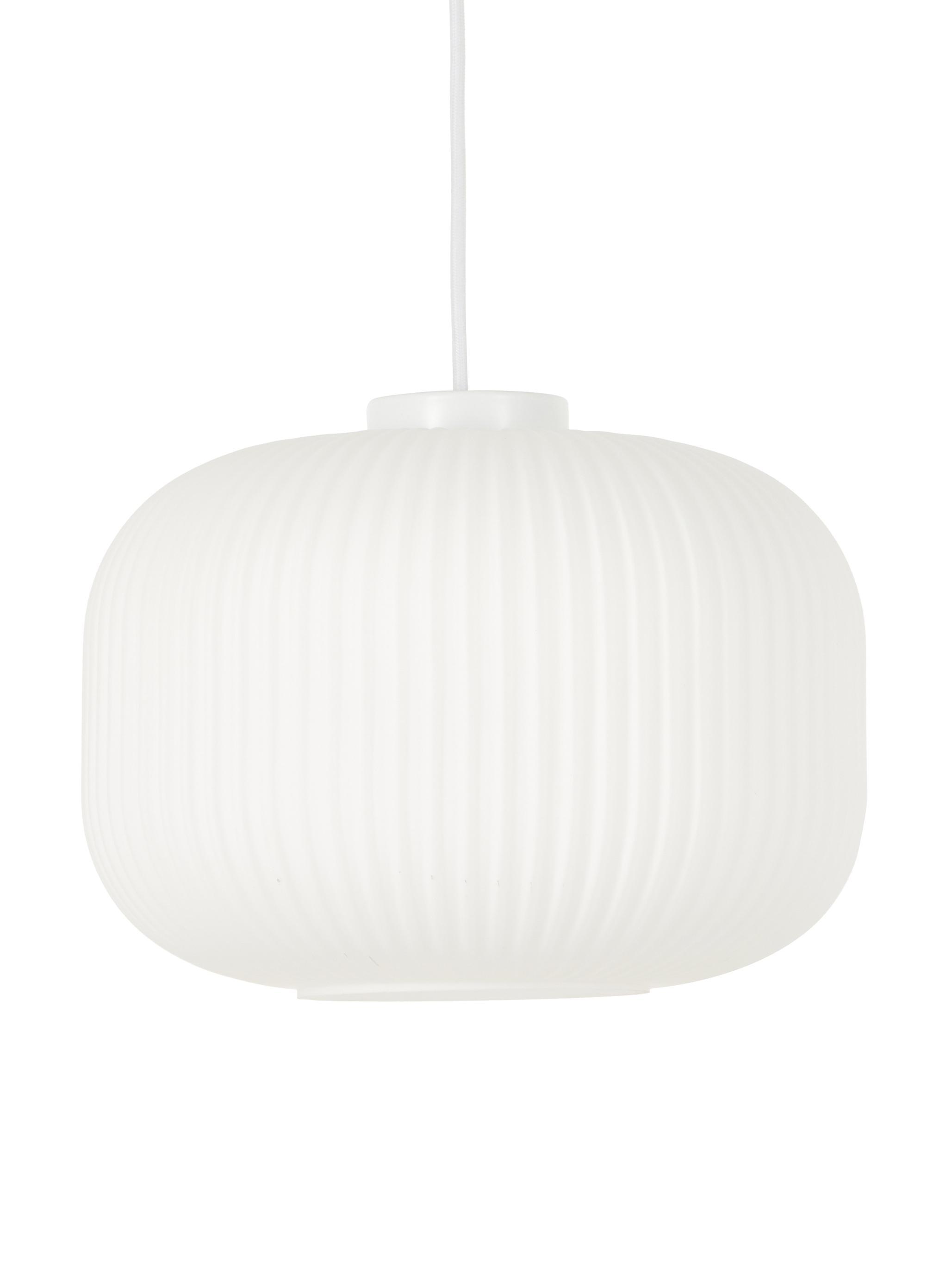 Lámpara de techo Mildford, Vidrio opalino, Blanco, Ø 30 x Al 28 cm