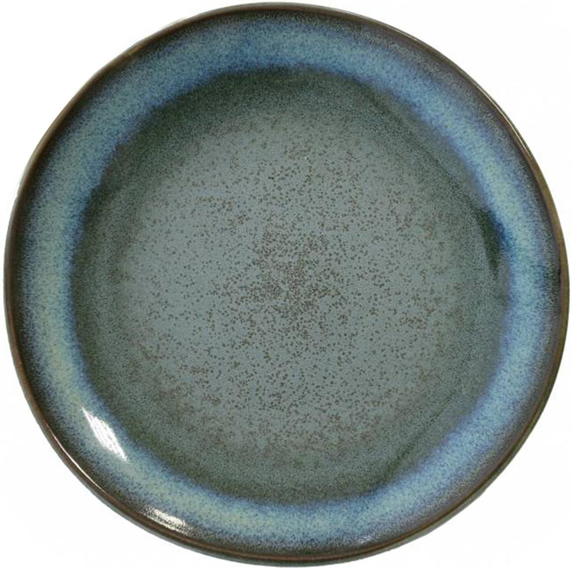 Piatto piano fatto a mano 70's, 2 pz, Ceramica, Tonalità blu, tonalità verde, Ø 18 cm