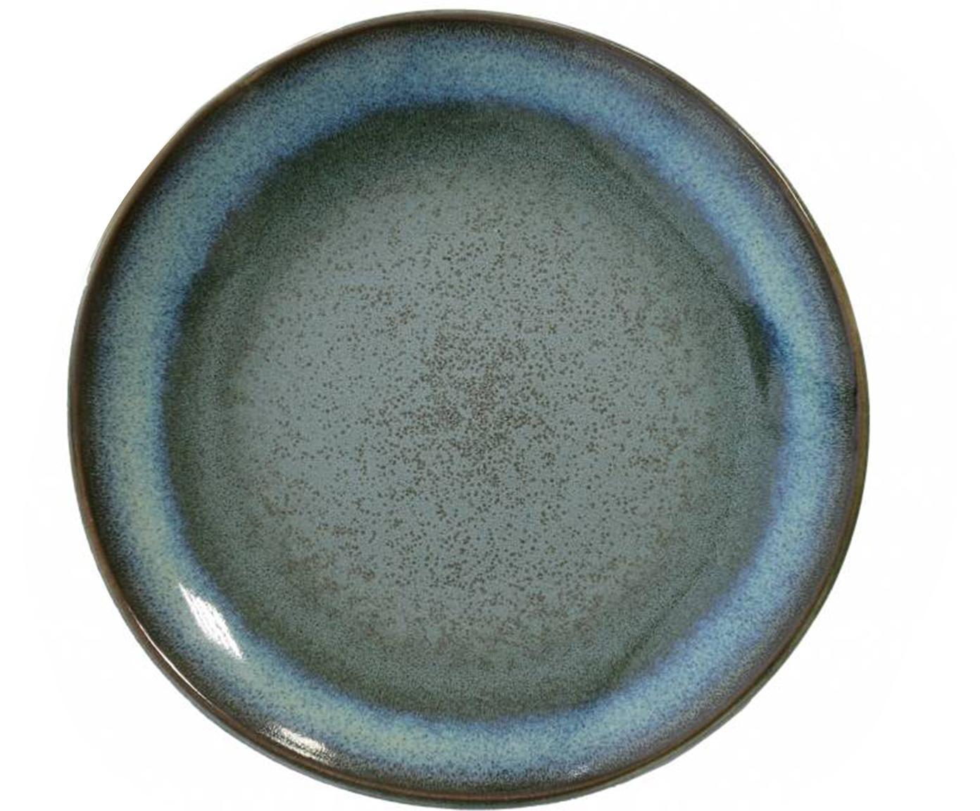 Handgemachte Kuchenteller 70's, 2 Stück, Keramik, Blautöne, Grüntöne, Ø 18 cm