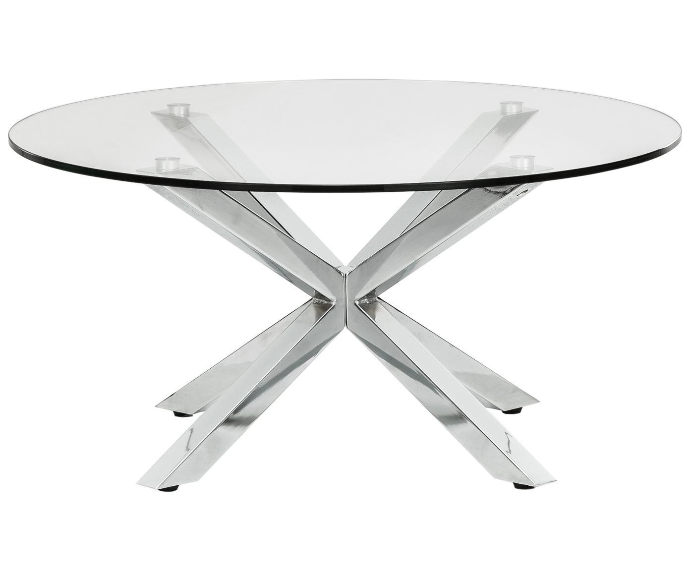 Metall-Couchtisch Emilie mit Glasplatte, Tischplatte: Sicherheitsglas, Transparent, Chrom, Ø 82 x H 40 cm
