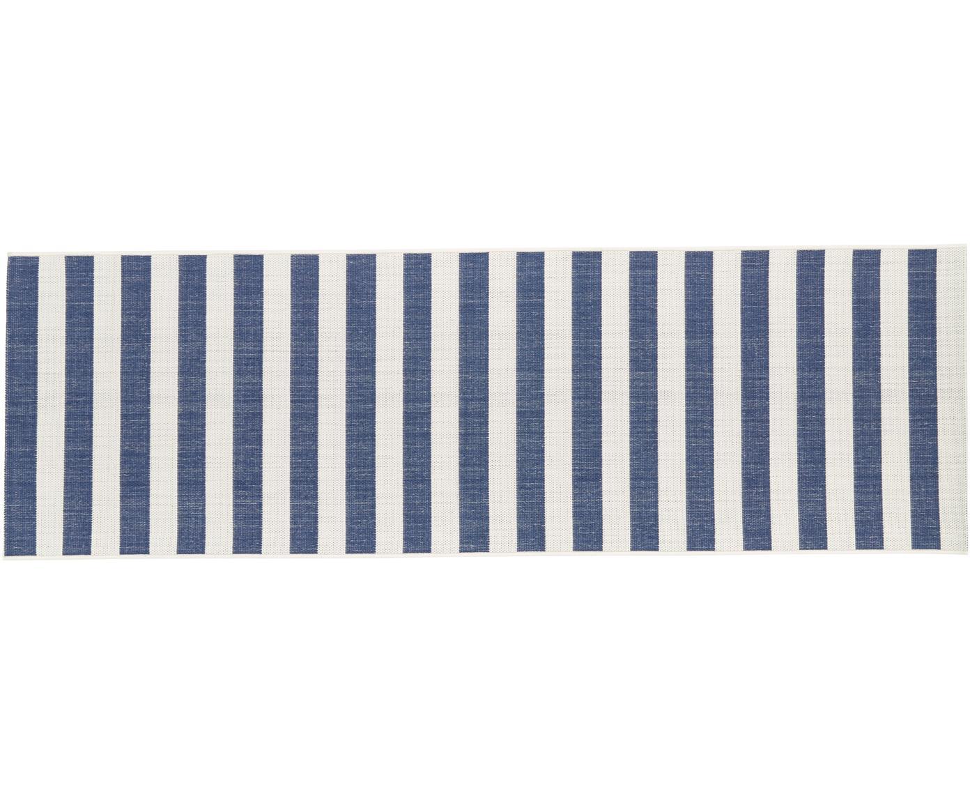 Gestreepte in- & outdoor loper Axa, Bovenzijde: polypropyleen, Onderzijde: polyester, Crèmewit, blauw, 80 x 250 cm