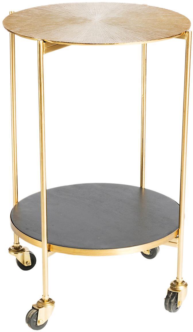 Ronde barcart Granta goudkleurig, Wieltjes: kunststof, Goudkleurig, mangohoutkleurig, Ø 45 x H 60 cm