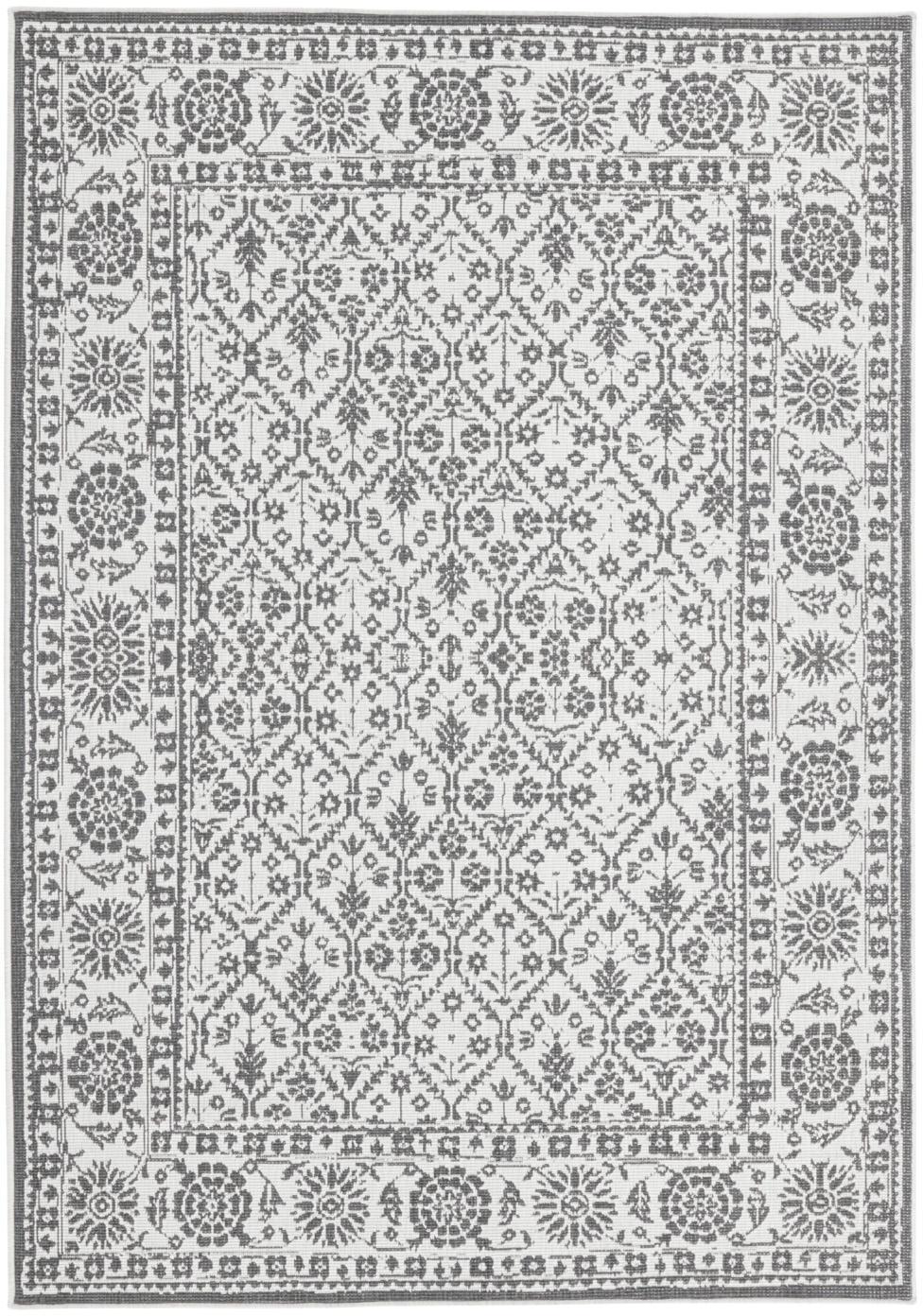 Tappeto vintage reversibile da interno-esterno Curacao, Grigio, color crema, Larg.160 x Lung. 230 cm (taglia M)