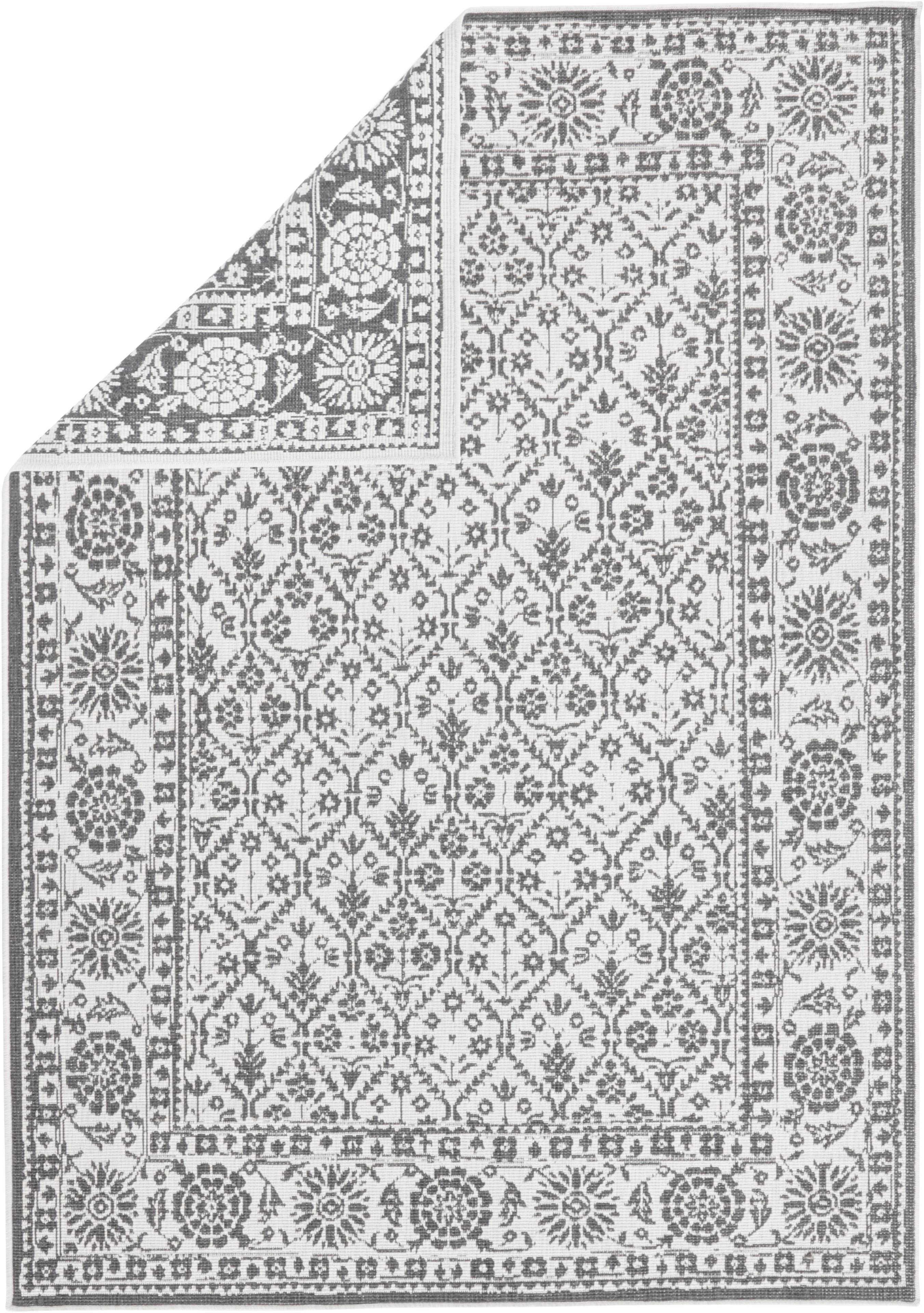 In- und Outdoor-Wendeteppich Curacao im Vintage Style, Grau/Creme, Grau, Cremefarben, B 160 x L 230 cm (Größe M)