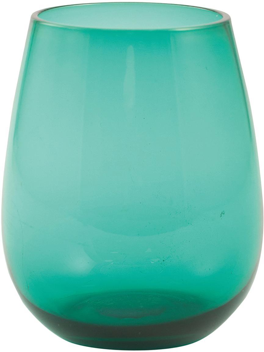 Bauchige Wassergläser Happy Hour in Türkis, 6 Stück, Glas, Grün, Ø 9 x H 11 cm