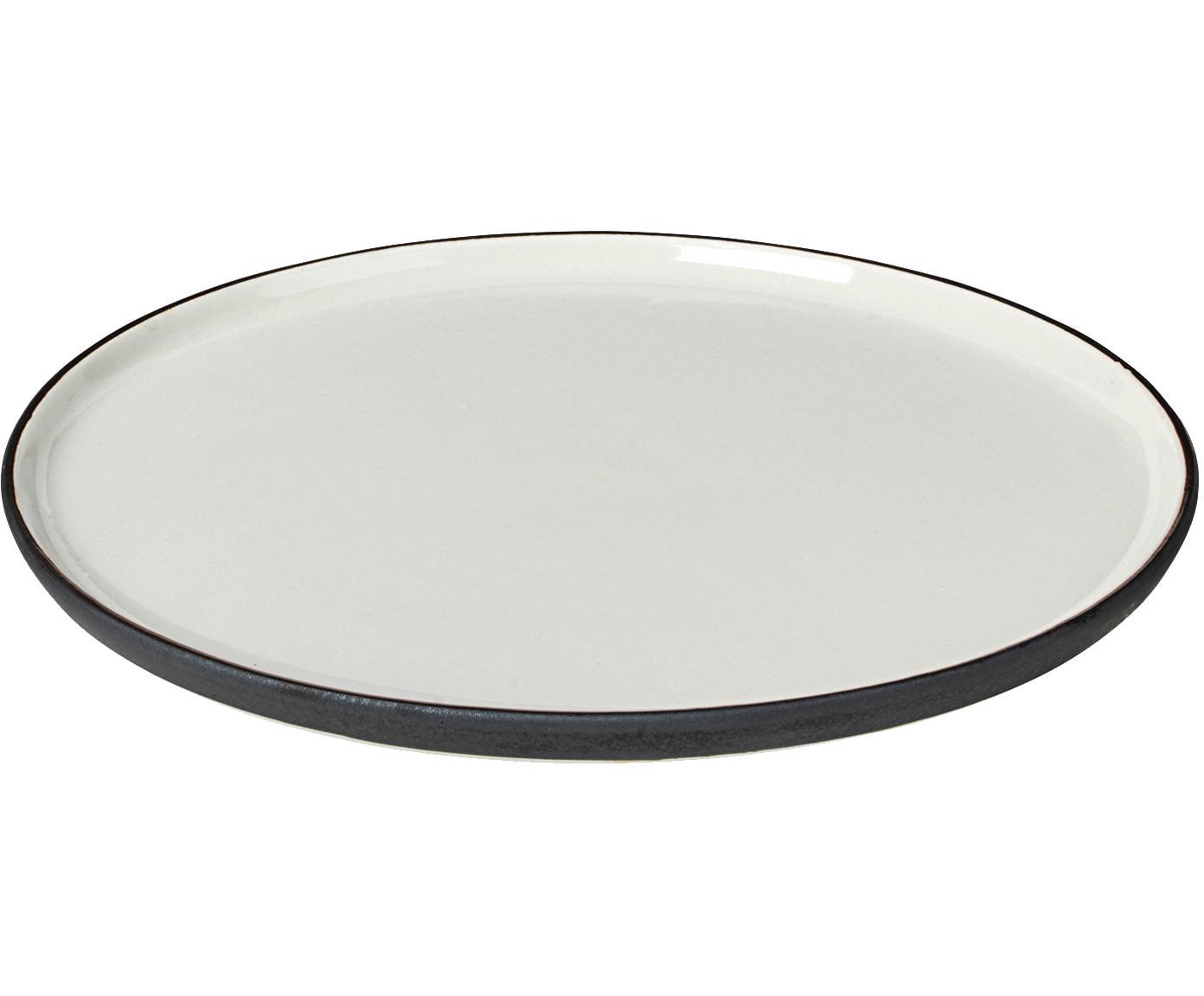 Handgemaakte ontbijtborden Esrum mat/glanzend, 4 stuks, Bovenzijde: glad geglazuurde keramiek, Onderzijde: natuurlijke keramiek, Ivoorkleurig, grijsbruin, Ø 21 cm