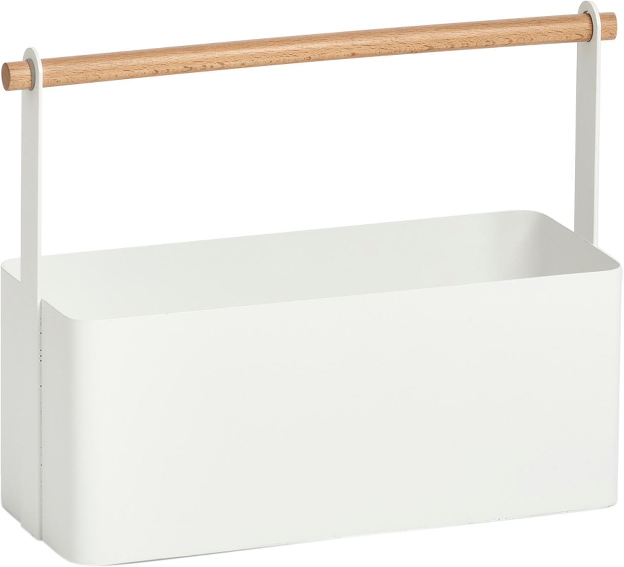 Opbergbakje Ledino, Metaal, beukenhout, Wit, beukenhoutkleurig, 32 x 16 cm