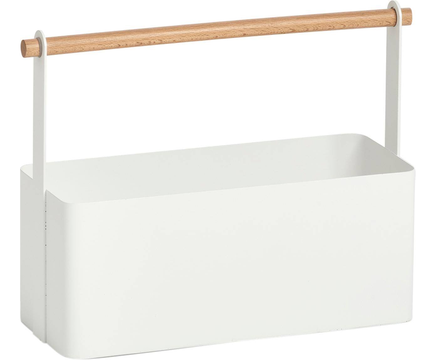 Contenitore Ledino, Metallo, legno di faggio, Bianco, legno di faggio, Larg. 32 x Alt. 16 cm