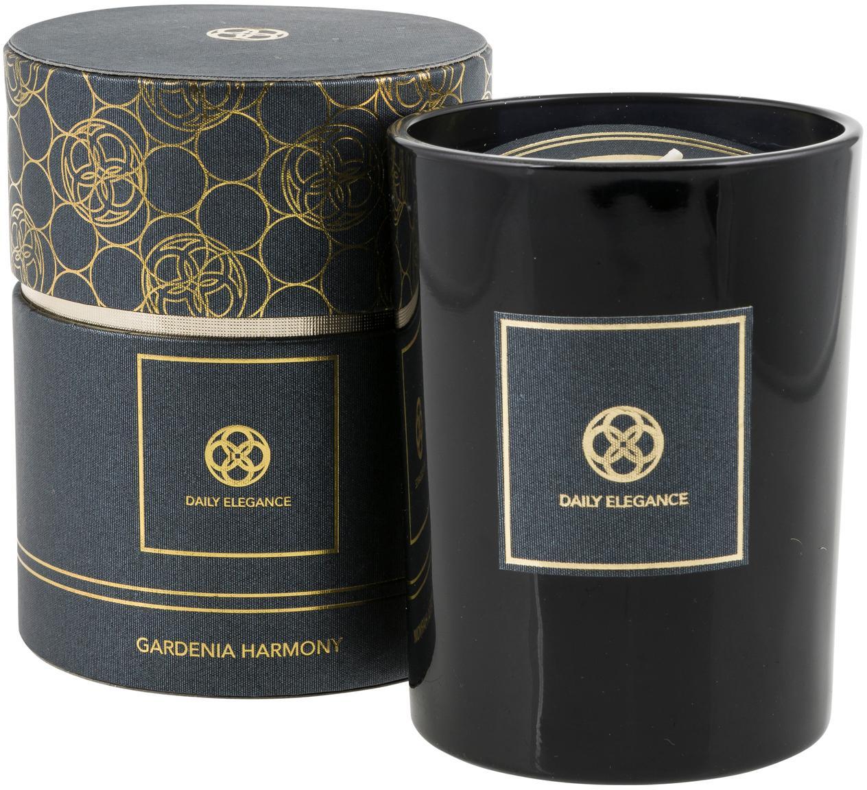Vela perfumada Bhutan (manzana, durazno), Recipiente: vidrio, Negro, dorado, Ø 9 x Al 11 cm
