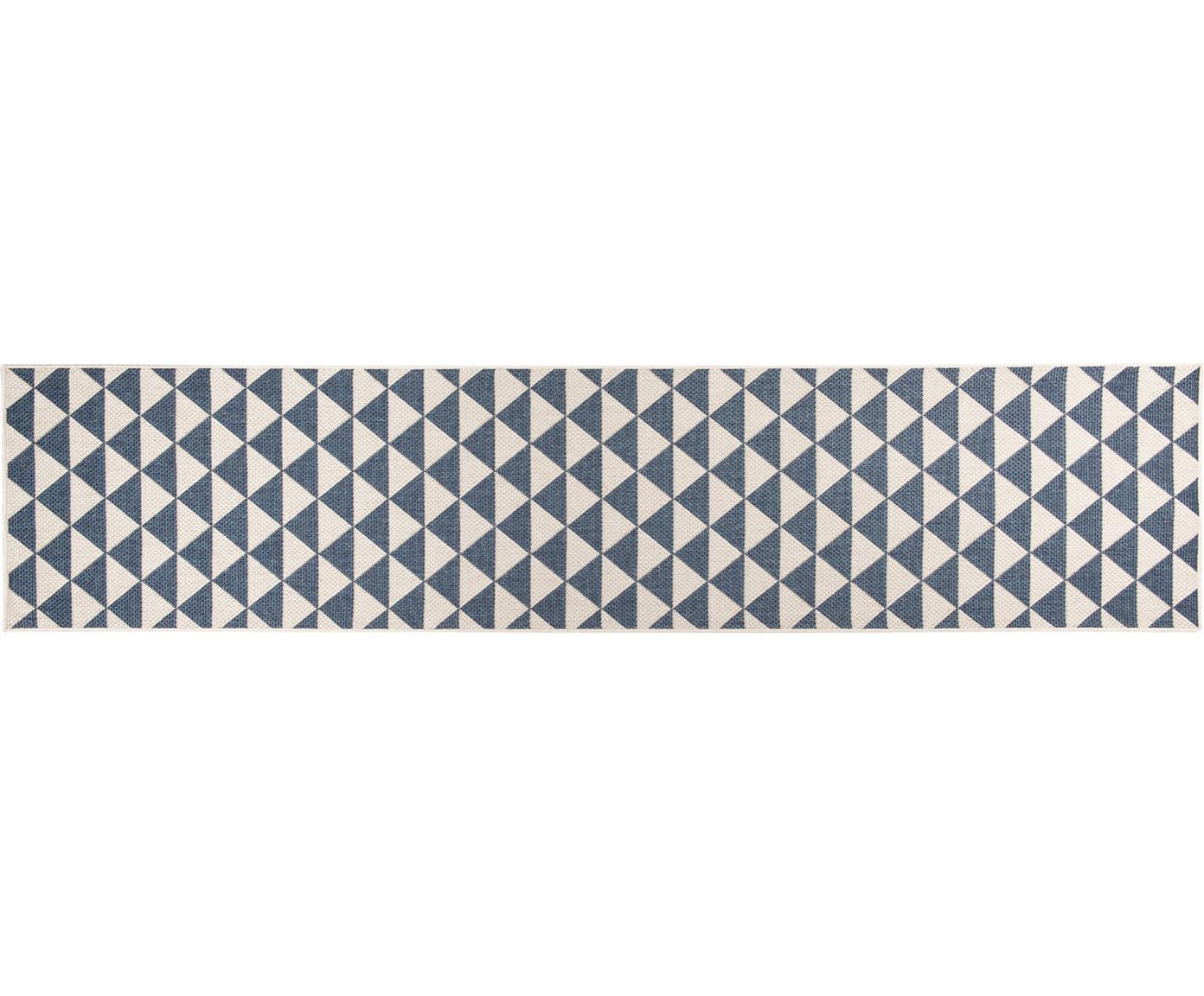 In- & outdoor loper met patroon Tahiti in blauw/crèmekleur, 100% polypropyleen, Blauw, crèmekleurig, 80 x 350 cm
