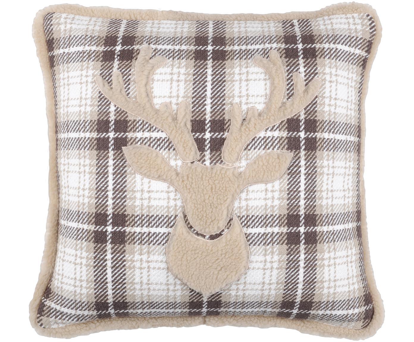 Cojín Timber, con relleno, Funda: 50%algodón, 32%lana, 7%, Gris, blanco, beige, An 40 x L 40 cm