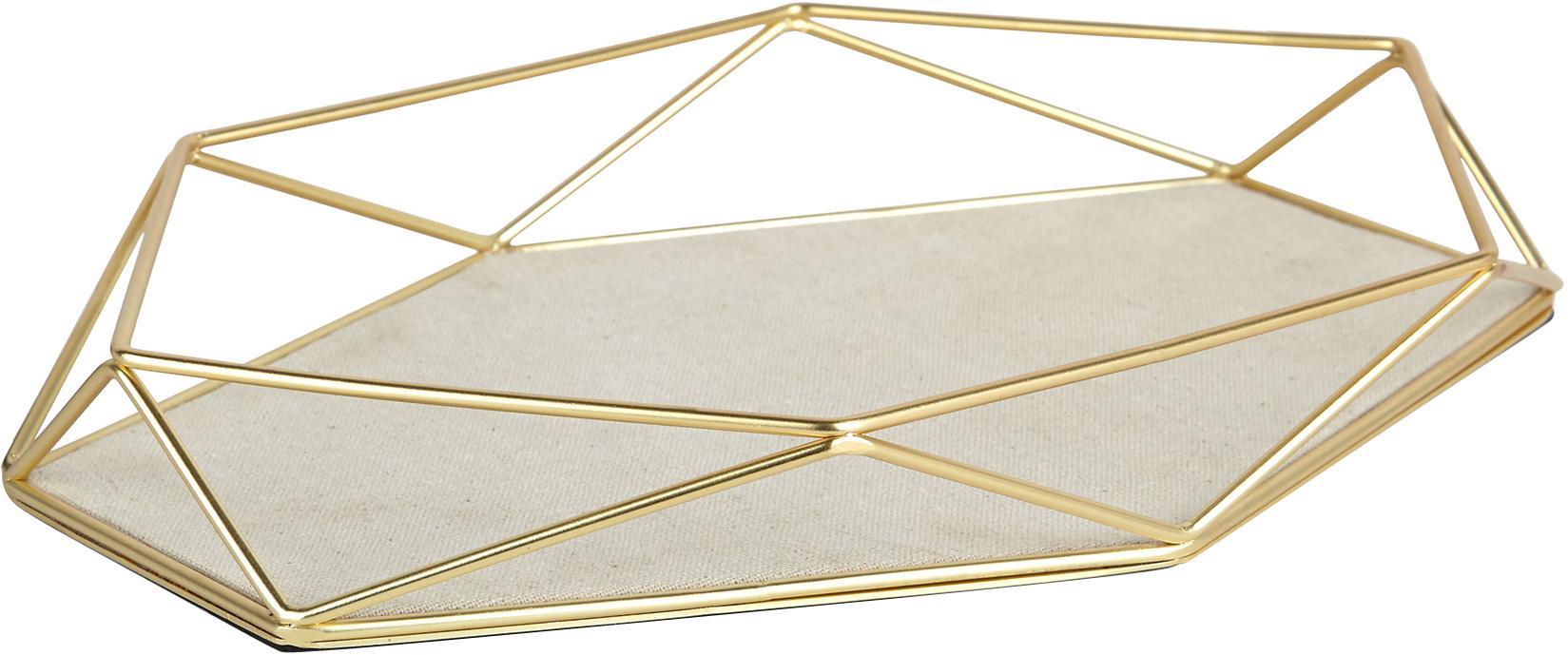 Vassoio decorativo Prisma, Struttura: acciaio ottonato placcato, Scaffale: acciaio, lino, Ottone, taupe chiaro, L 28 x A 4 cm