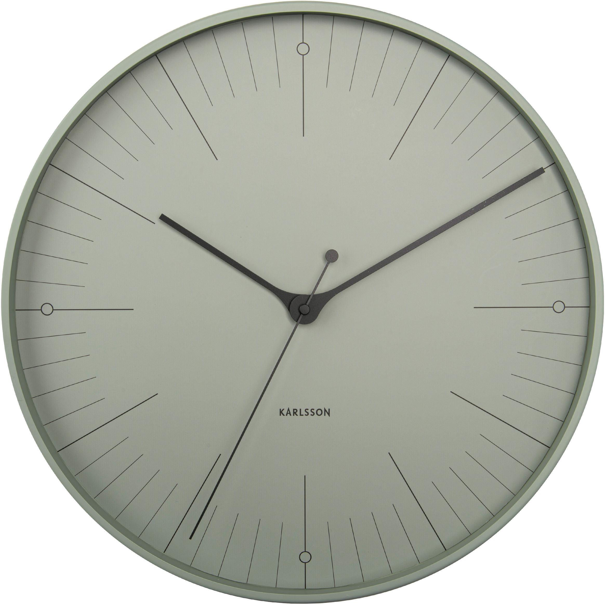 Reloj de pared Index, Metal recubierto, Negro, verde, Ø 40 cm