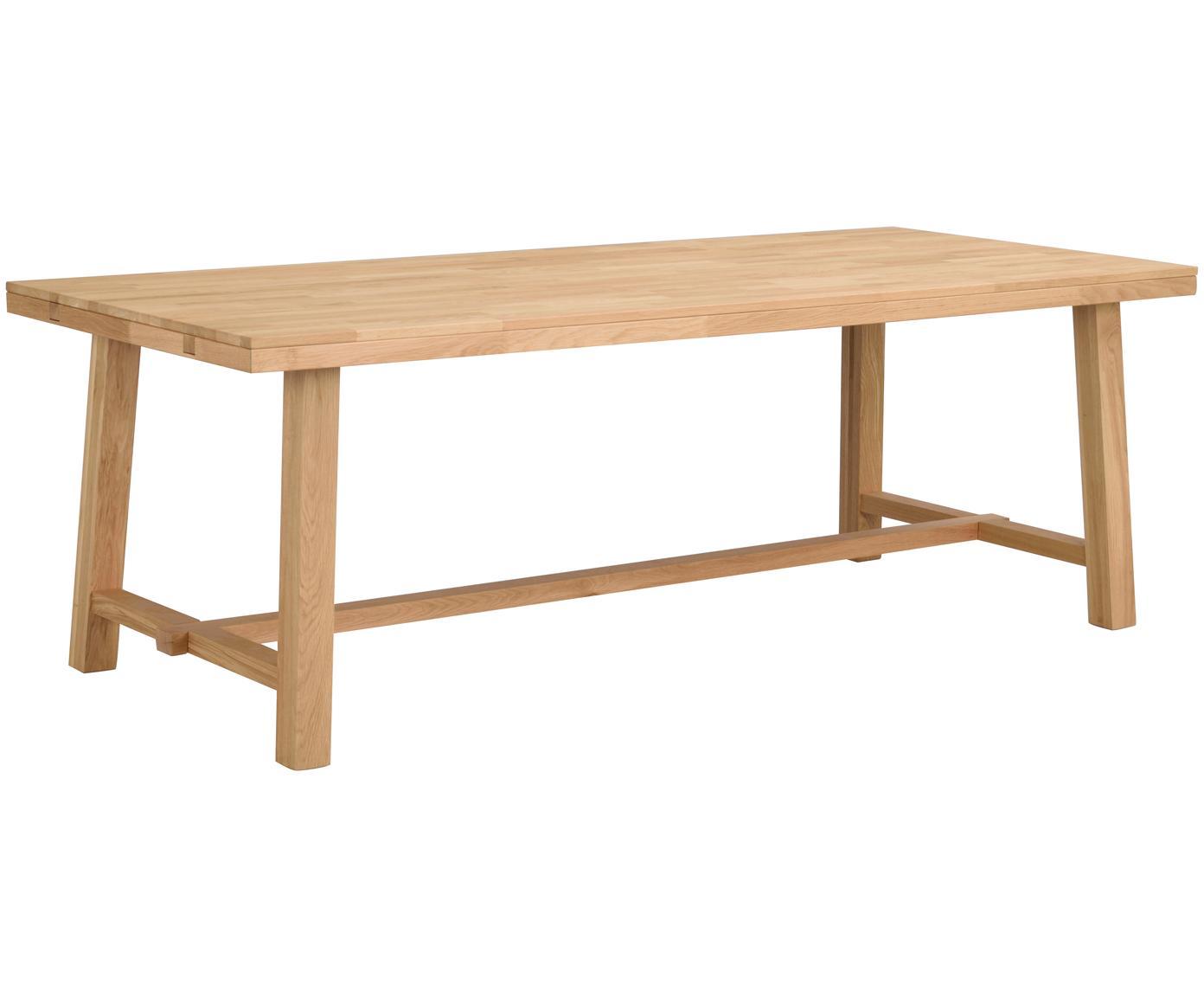 Mesa de comedor extensible de madera maciza Brooklyn, Madera de roble maciza, lacado transparente, Roble, An 220-270 x F 95 cm