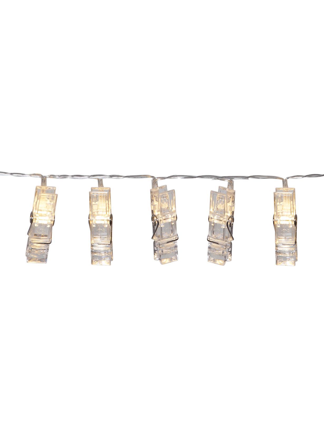 Guirnalda de luces LED Clippy, 135cm, Plástico, Transparente, L 135 cm