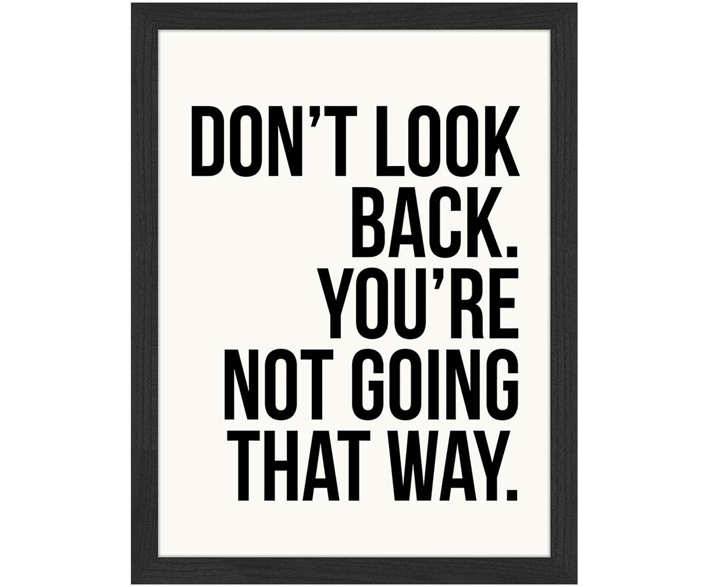 Stampa digitale incorniciata Don't Look Back, Immagine: stampa digitale su carta,, Cornice: legno verniciato, Immagine: nero, bianco cornice: nero, Larg. 33 x Alt.43 cm