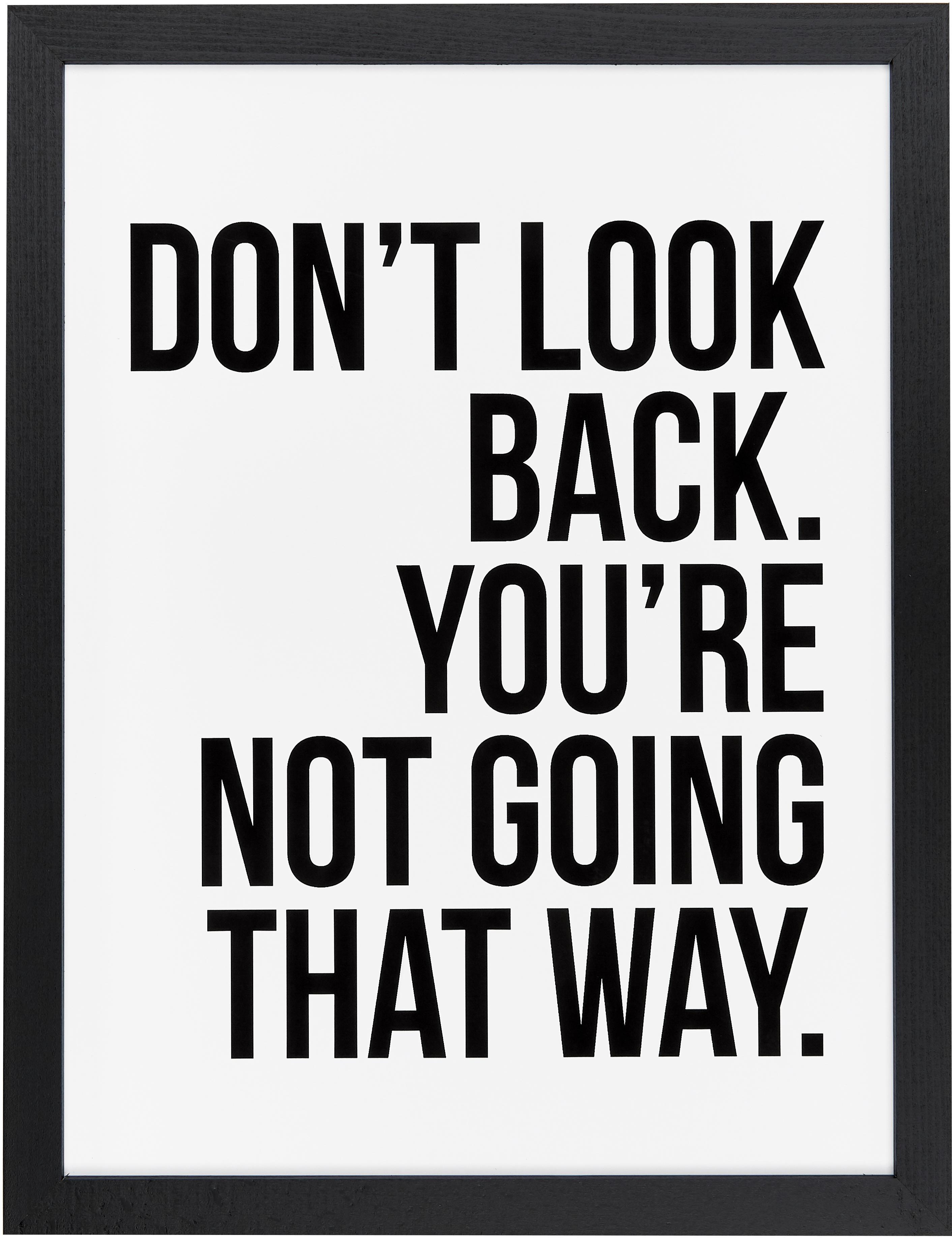 Oprawiony druk cyfrowy Don't Look Back, Ilustracja: czarny, biały Rama: czarny, S 33 x W 43 cm