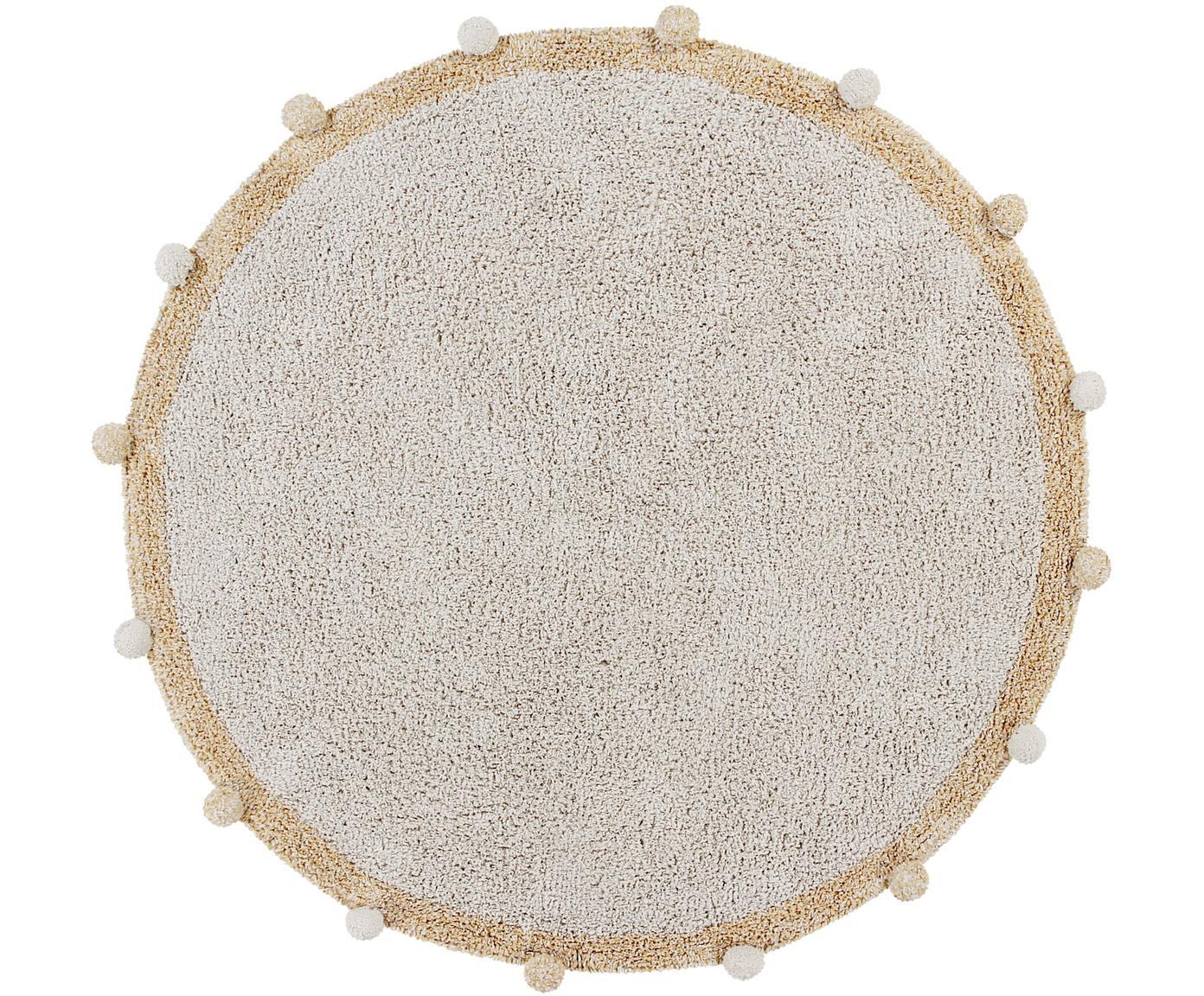 Runder Teppich Bubbly mit Pompoms, handgefertigt, Flor: 97% recycelte Baumwolle, , Cremefarben, Gelb, Ø 120 cm (Größe S)
