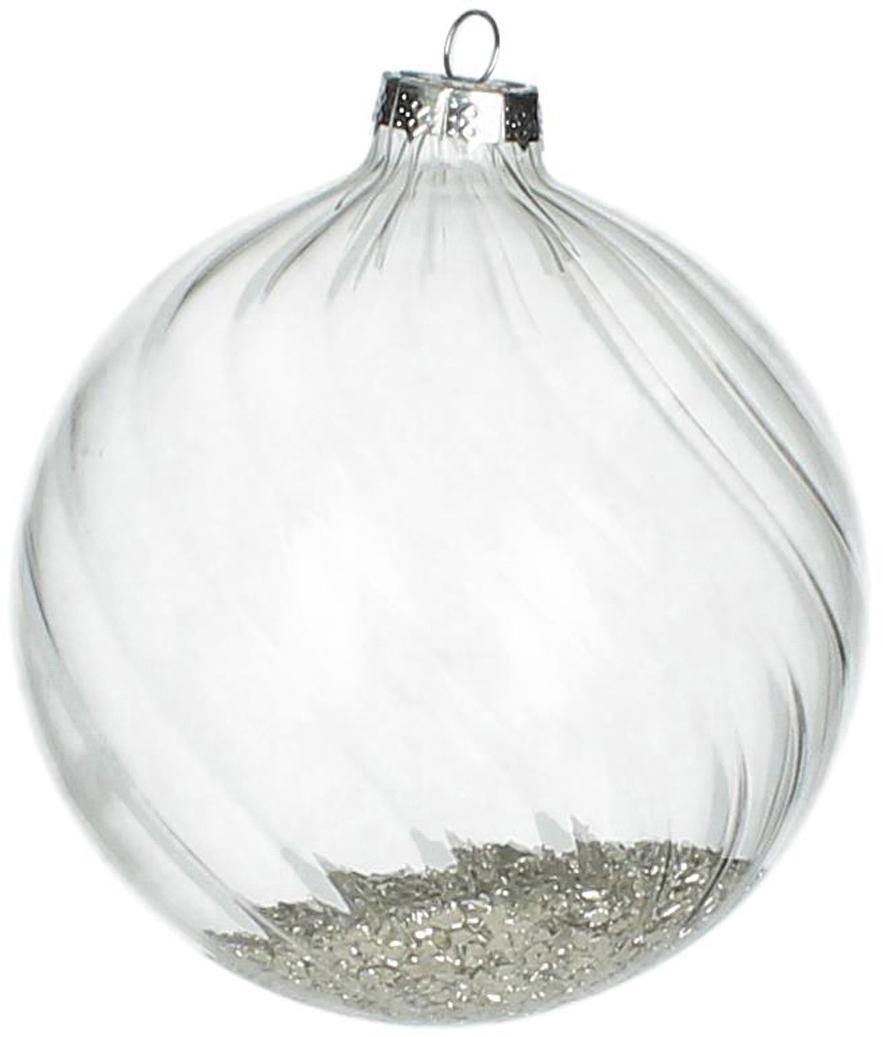 Weihnachtskugeln Rill, 2 Stück, Transparent, Silberfarben, Ø 10 cm