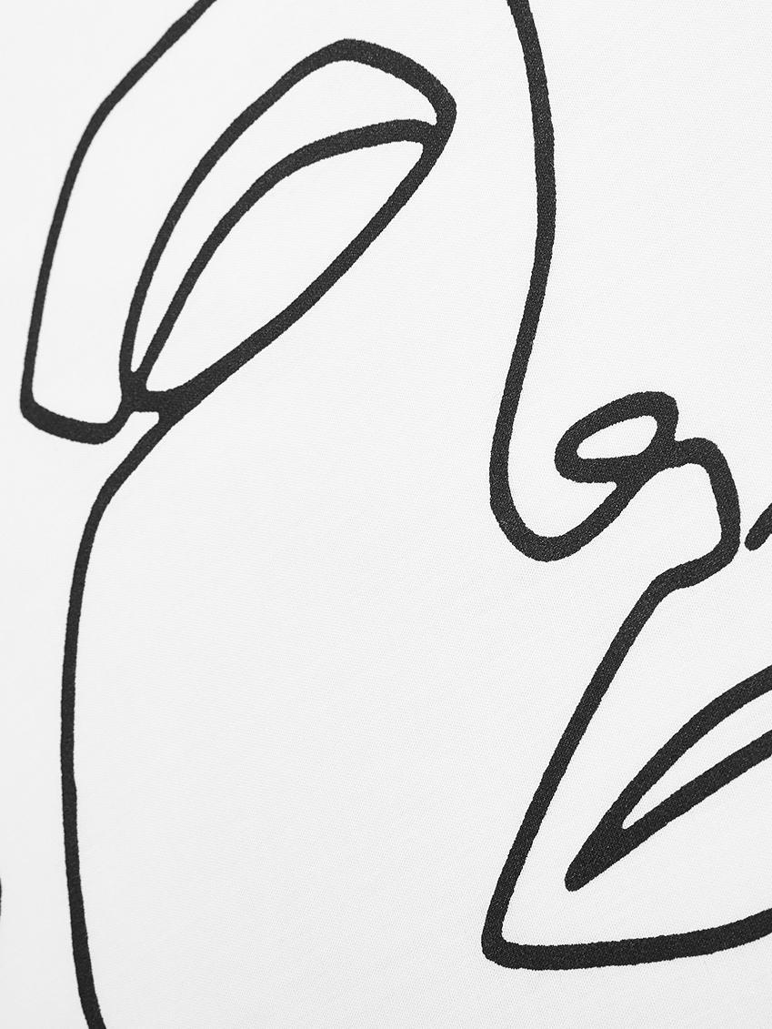 Baumwollperkal-Bettwäsche Aria mit One Line Zeichnung, Webart: Perkal Fadendichte 180 TC, Weiß, Schwarz, 135 x 200 cm + 1 Kissen 80 x 80 cm