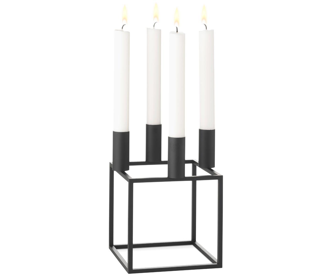Świecznik Kubus, Stal lakierowana, Czarny, S 14 x W 20 cm
